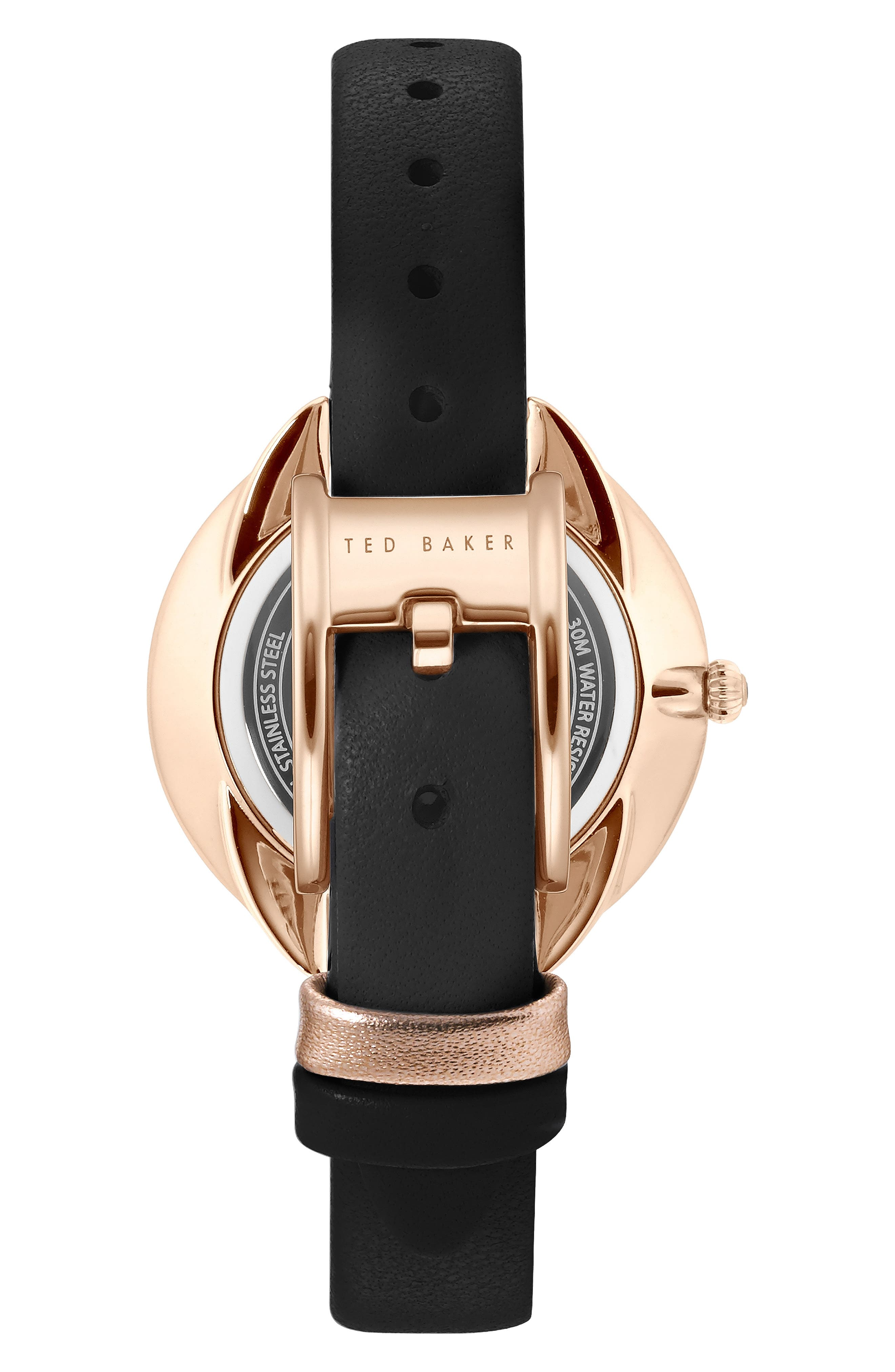 Elena Leather Strap Watch, 30mm,                             Alternate thumbnail 2, color,                             BLACK/ MOP/ ROSE GOLD