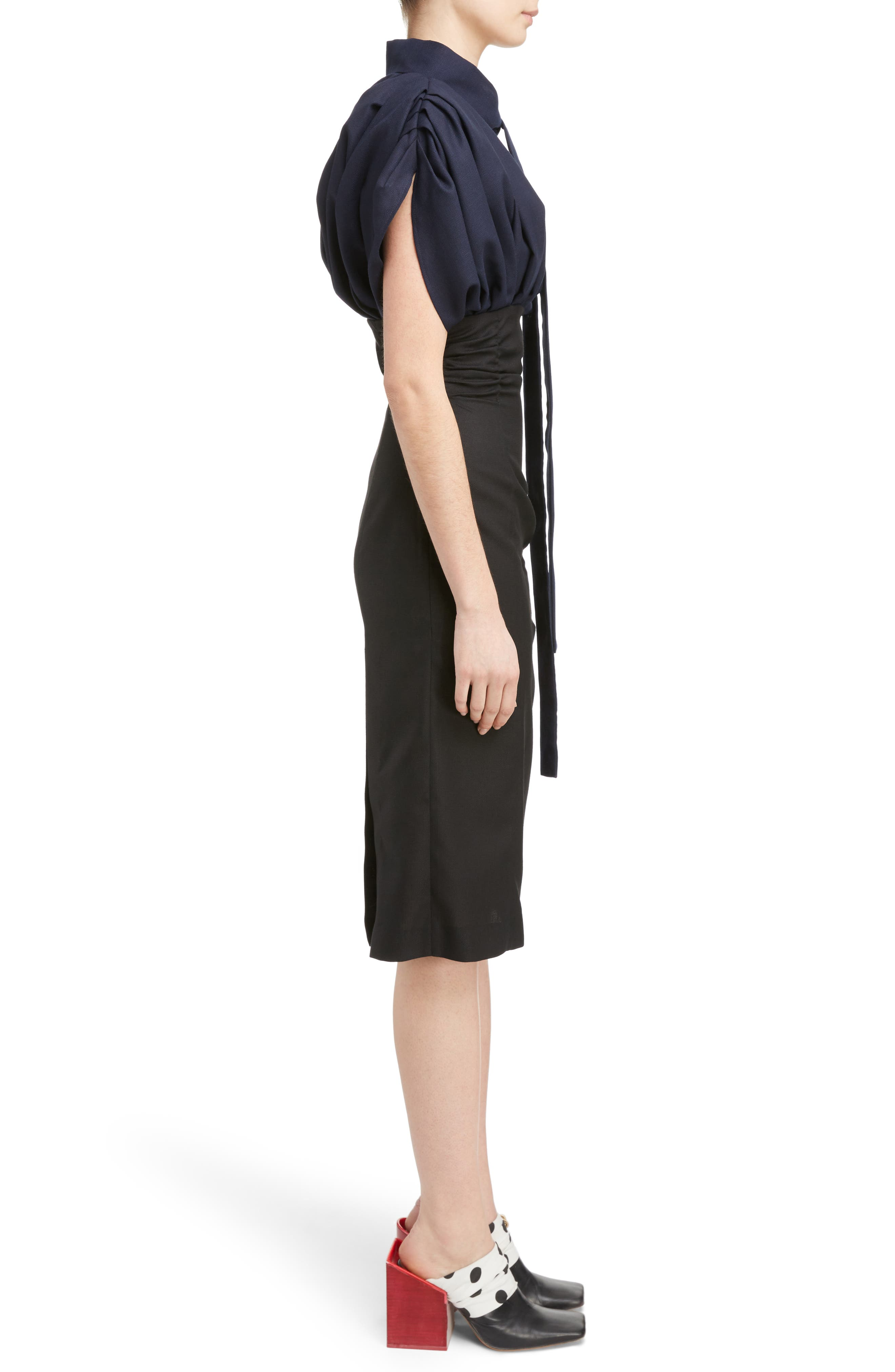 Ruched Tie Neck Dress,                             Alternate thumbnail 3, color,                             001