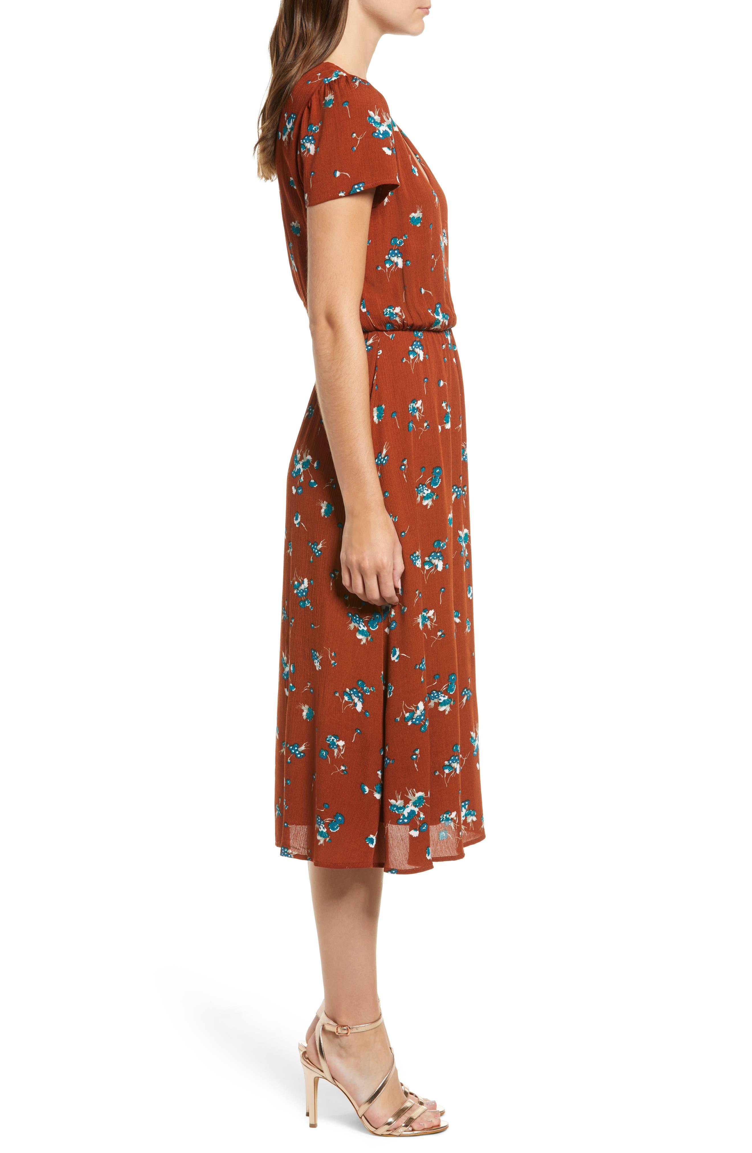 Blouson Midi Dress,                             Alternate thumbnail 3, color,                             BROWN SPICE FLORAL