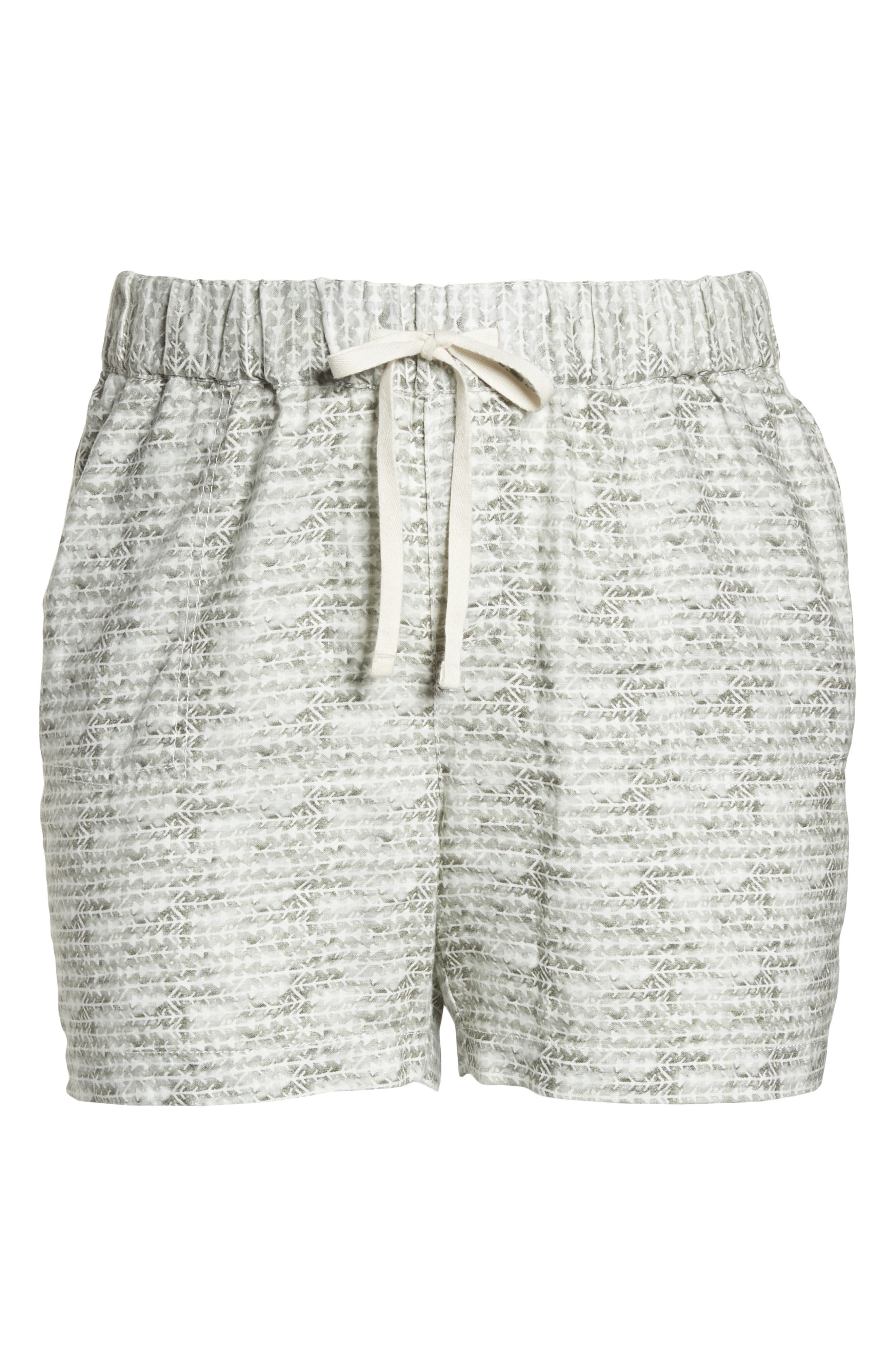 Linen Shorts,                             Alternate thumbnail 7, color,                             IVORY- OLIVE DIAMOND DIRECTION