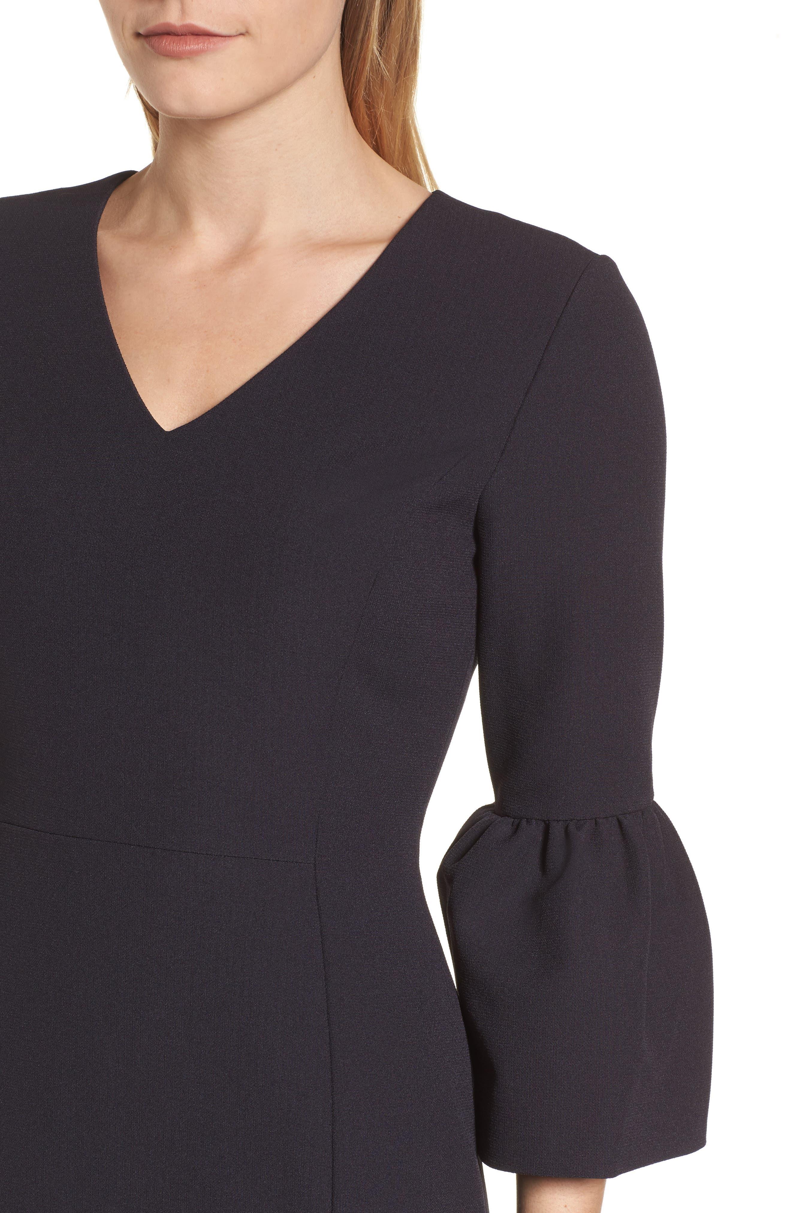 Bell Sleeve Sheath Dress,                             Alternate thumbnail 4, color,                             001