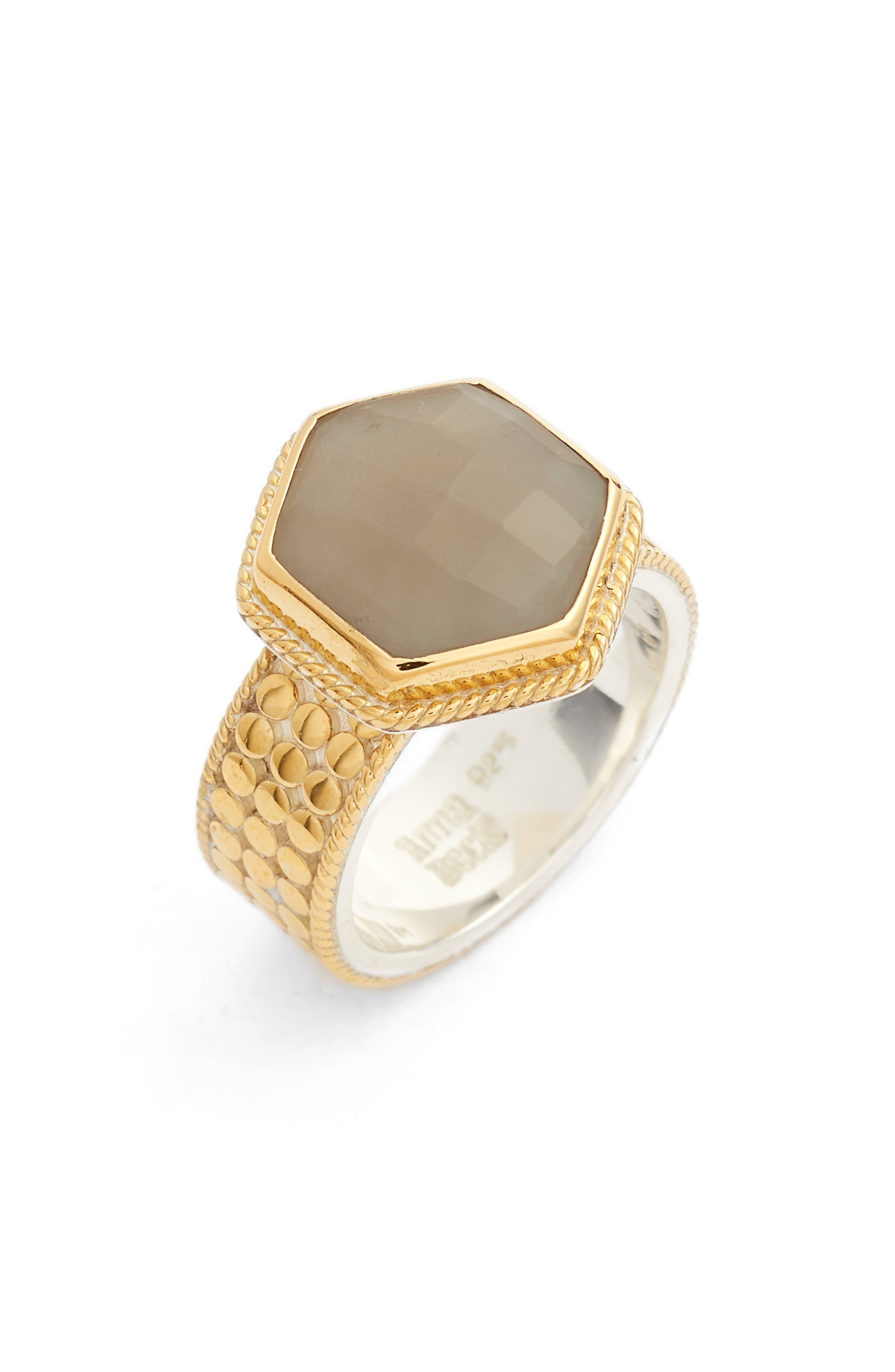 Grey Moonstone Hexagon Ring,                         Main,                         color, 020