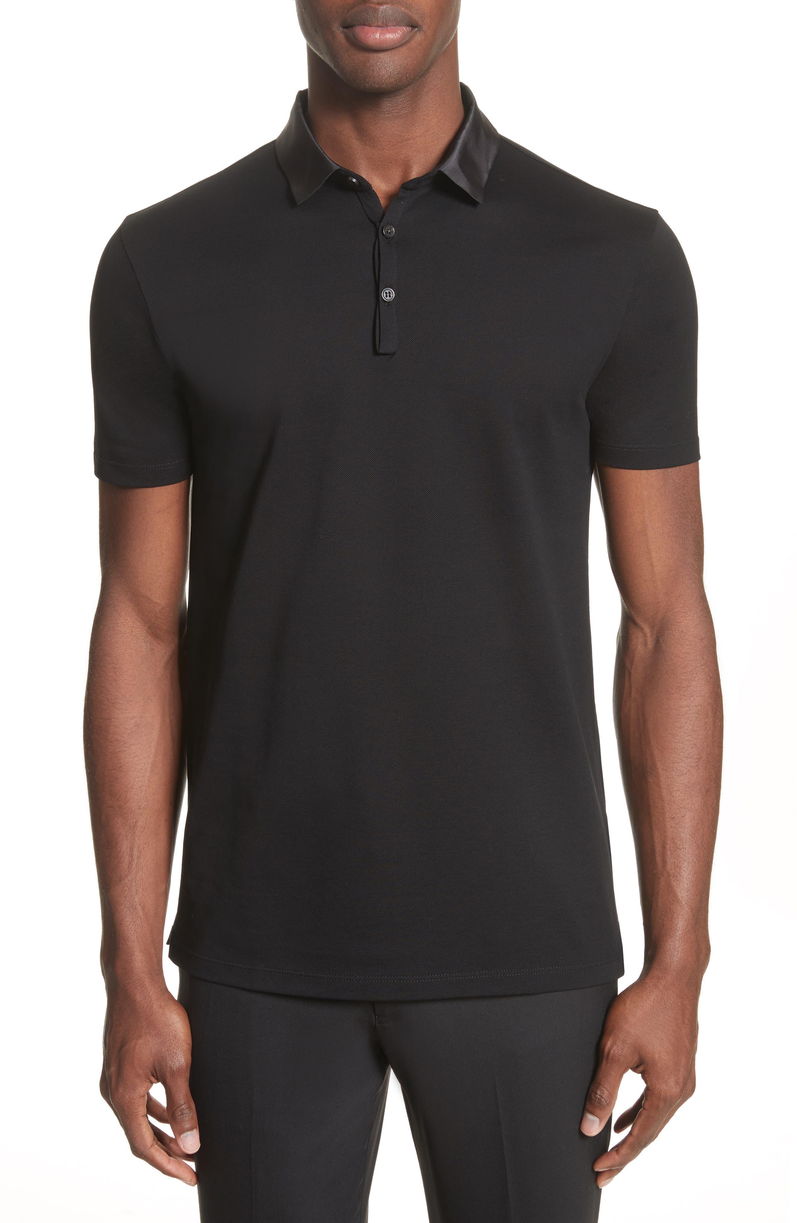 Grosgrain Collar Polo,                         Main,                         color, BLACK