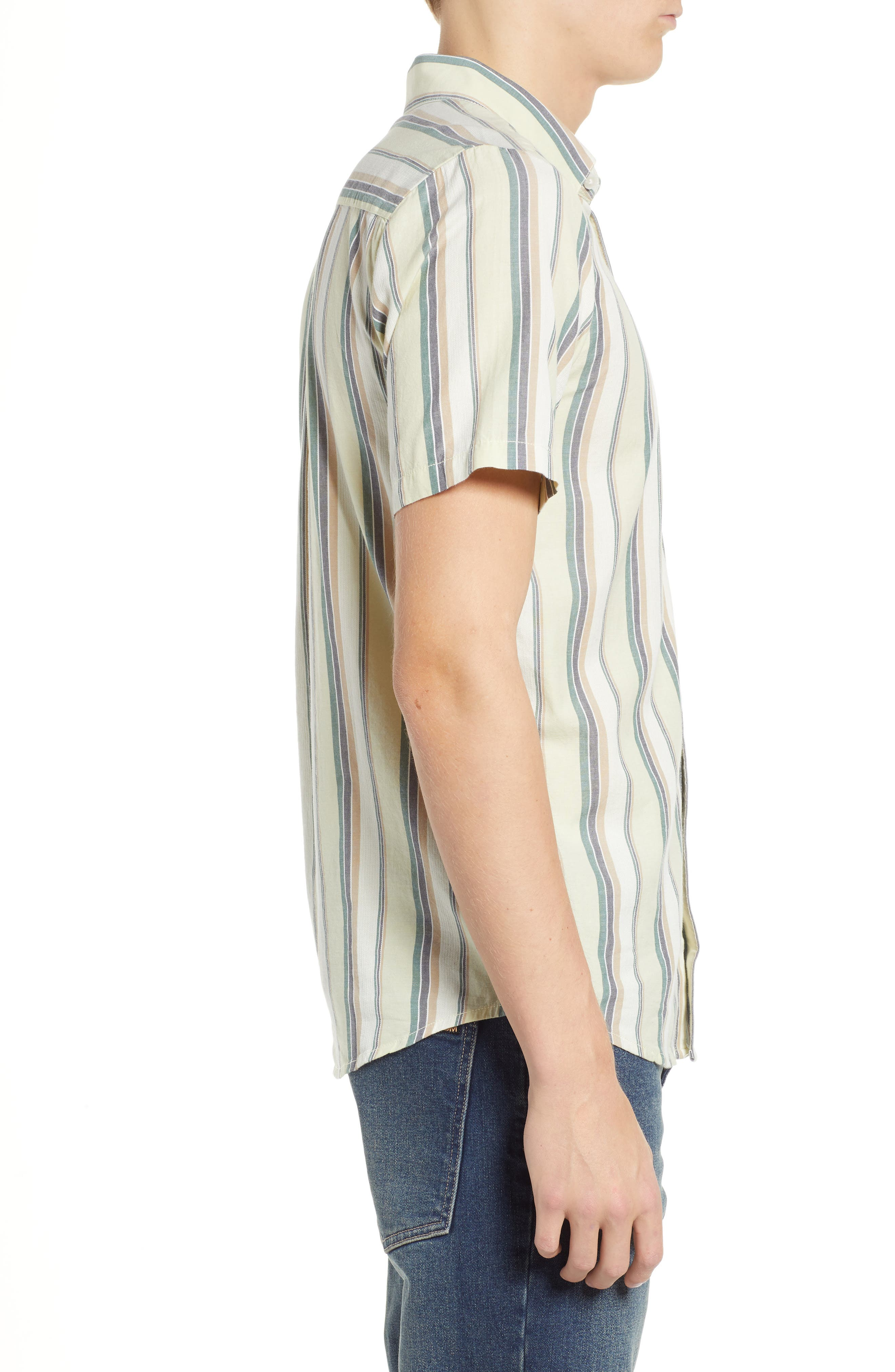 Multitone Stripe Woven Shirt,                             Alternate thumbnail 4, color,                             SAGE