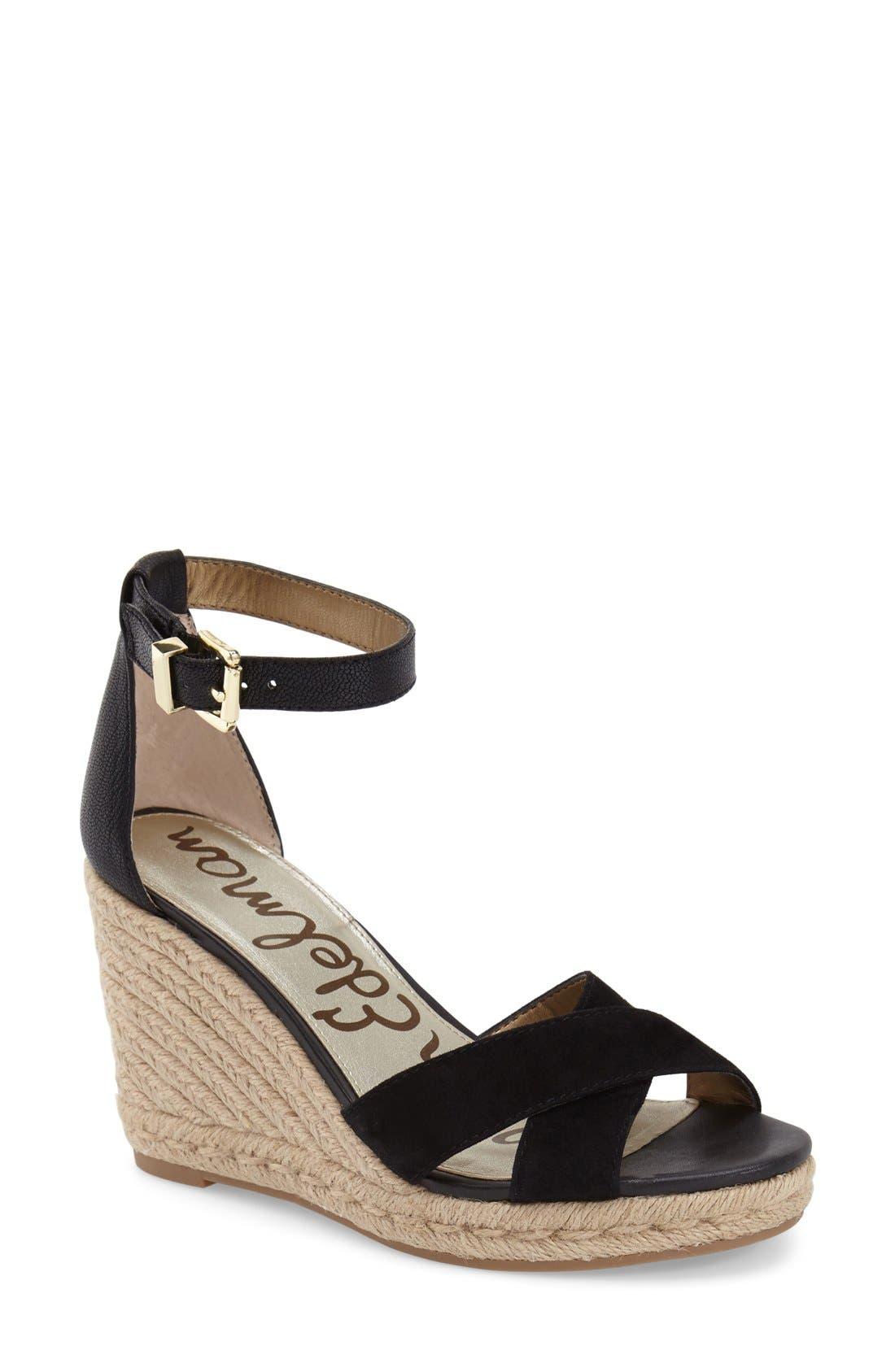 'Brenda' Espadrille Wedge Sandal, Main, color, 001