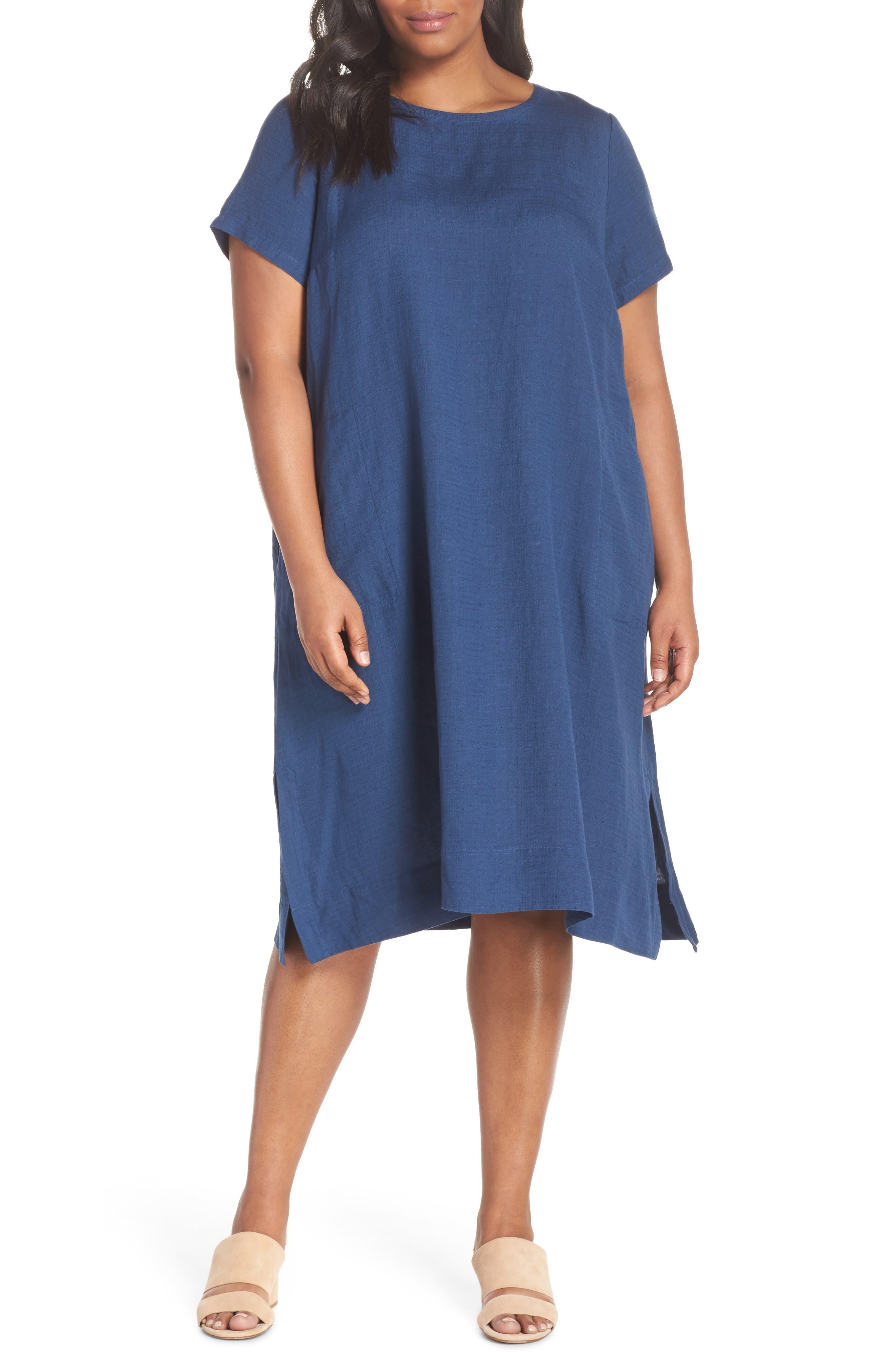 Linen Blend Shift Dress,                             Main thumbnail 3, color,