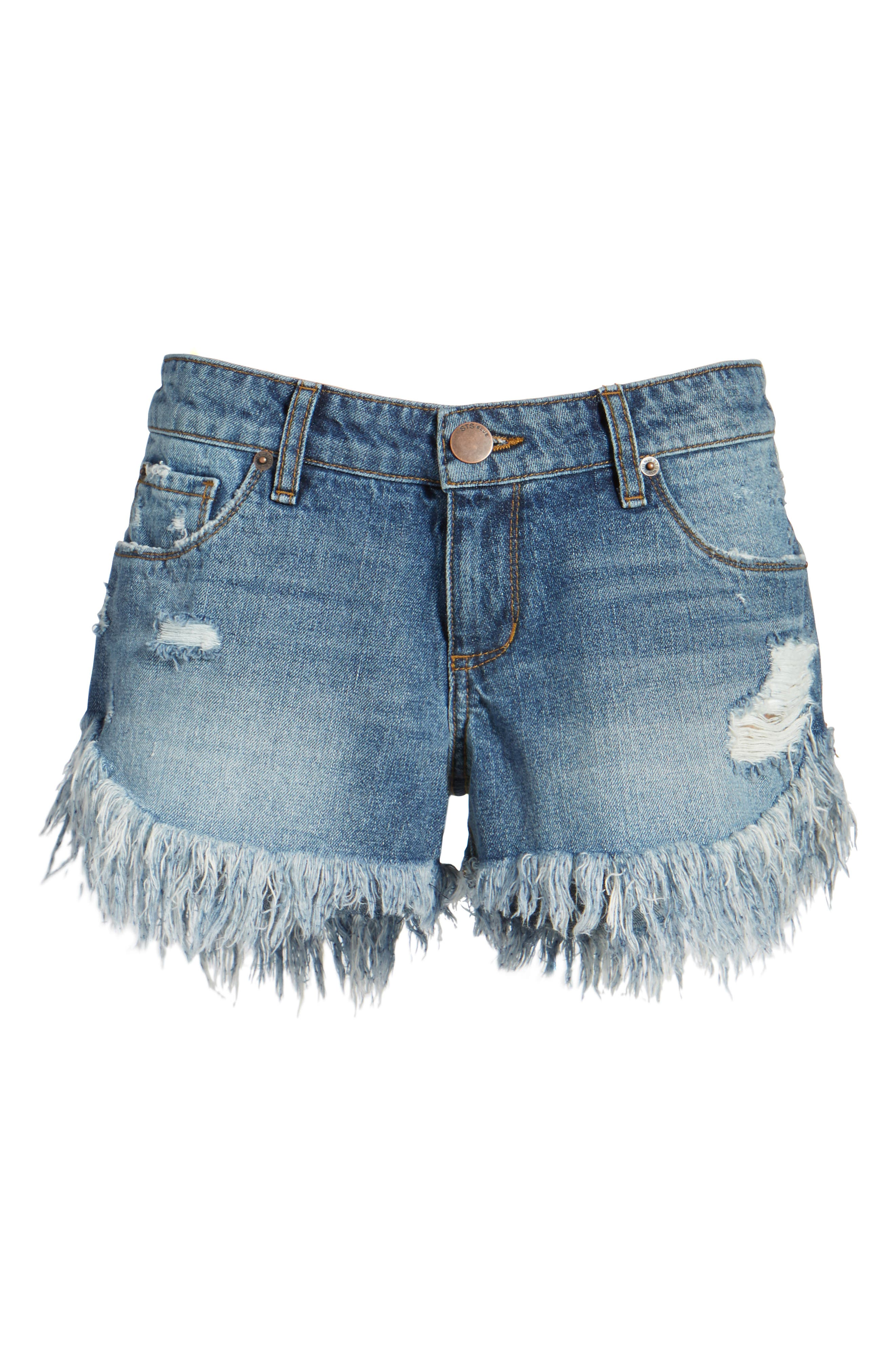 Cheeky Frayed Hem Denim Shorts,                             Alternate thumbnail 6, color,                             400