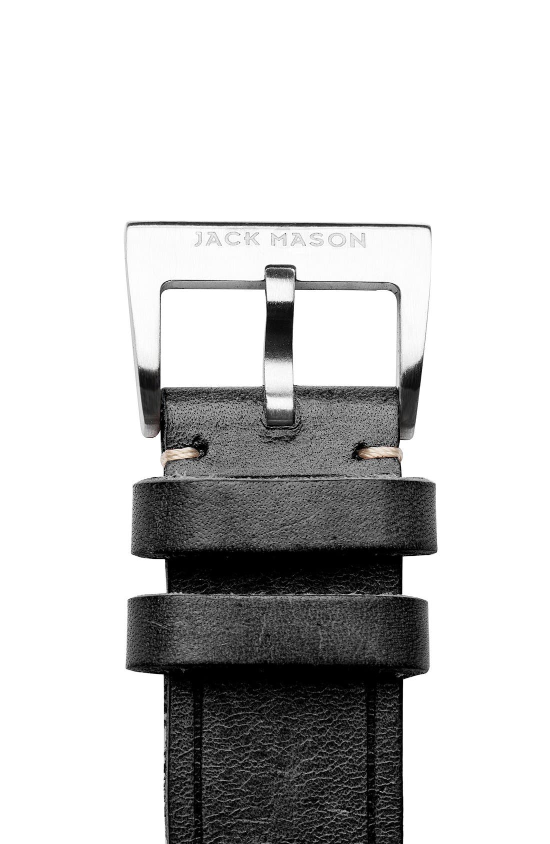 Leather Watch Strap, 22mm,                             Alternate thumbnail 3, color,                             001