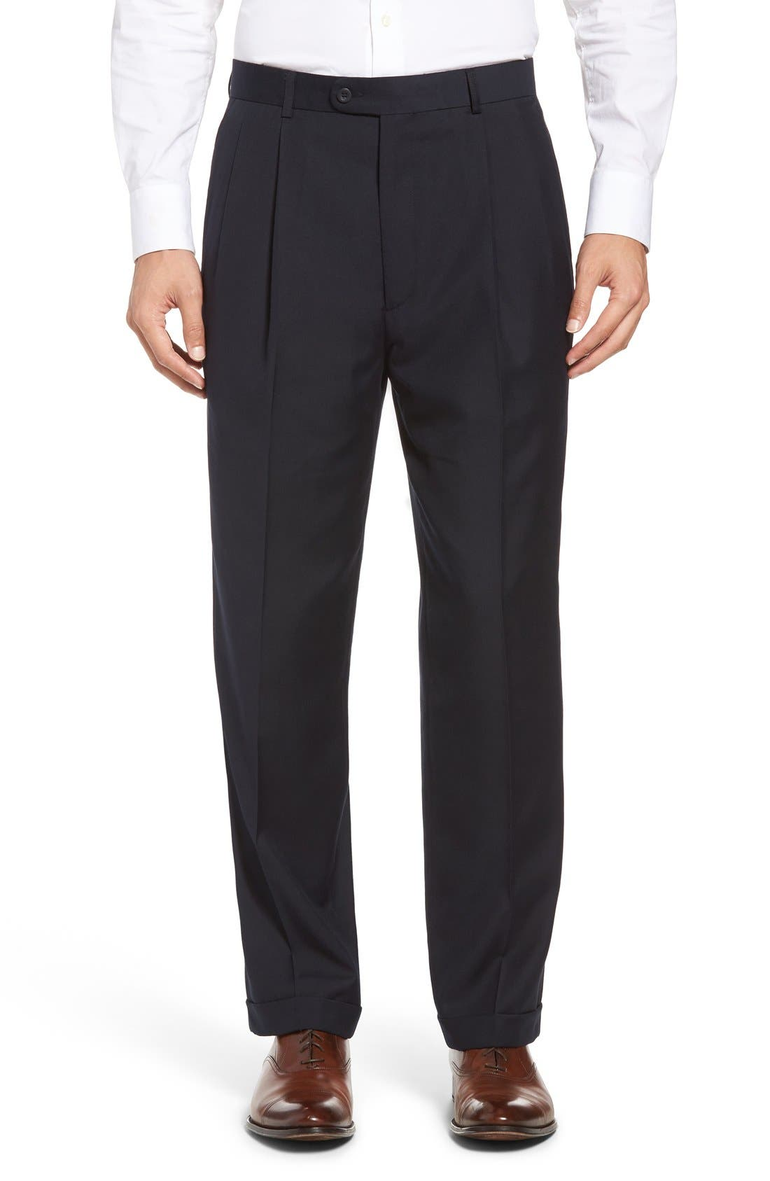 Pleated Microfiber Dress Pants,                             Main thumbnail 6, color,