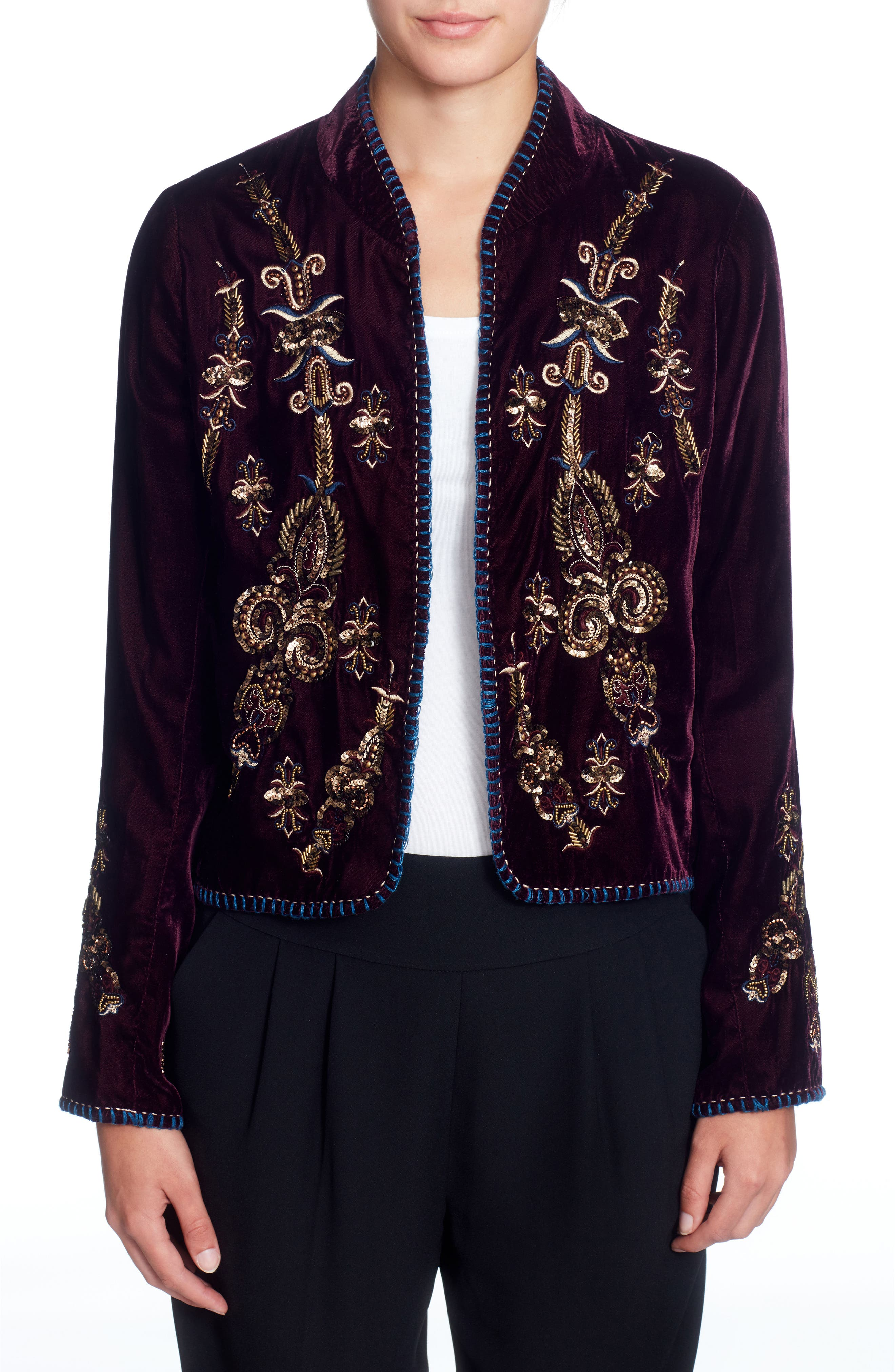 Winstead Embellished Velvet Jacket,                             Main thumbnail 1, color,                             542