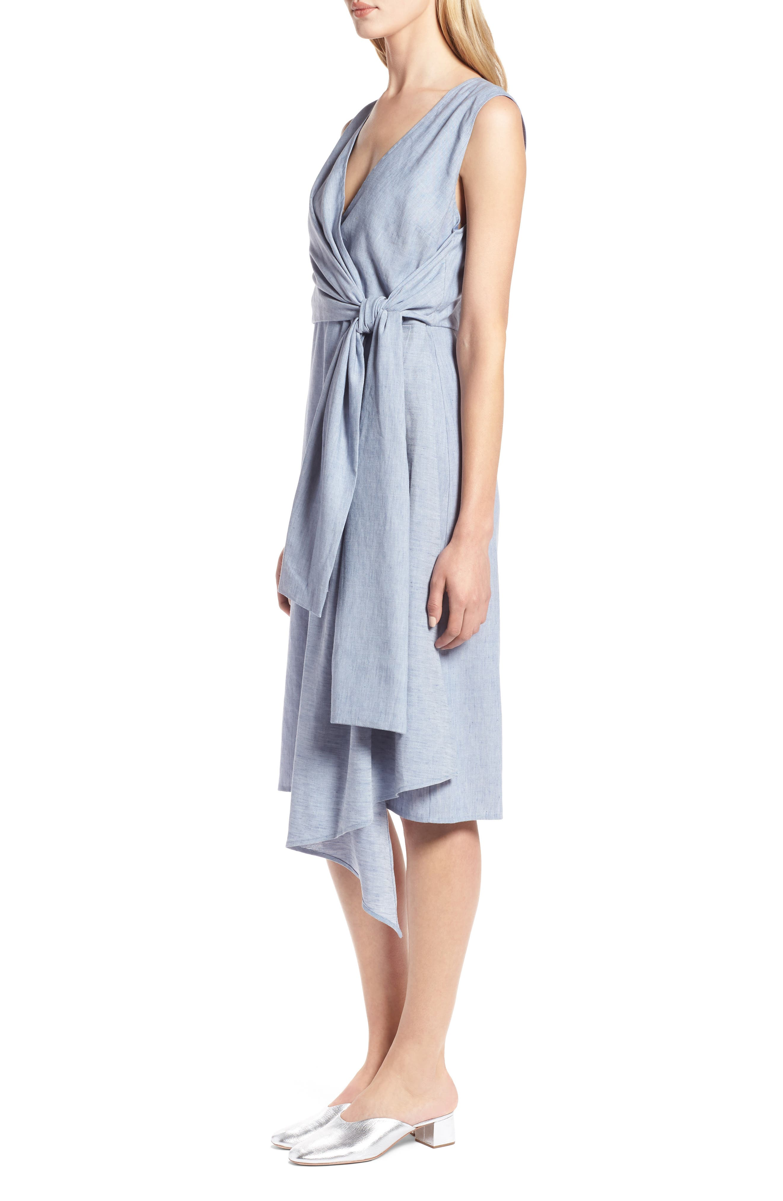 Tie Front Chambray Linen Blend Dress,                             Alternate thumbnail 3, color,                             400