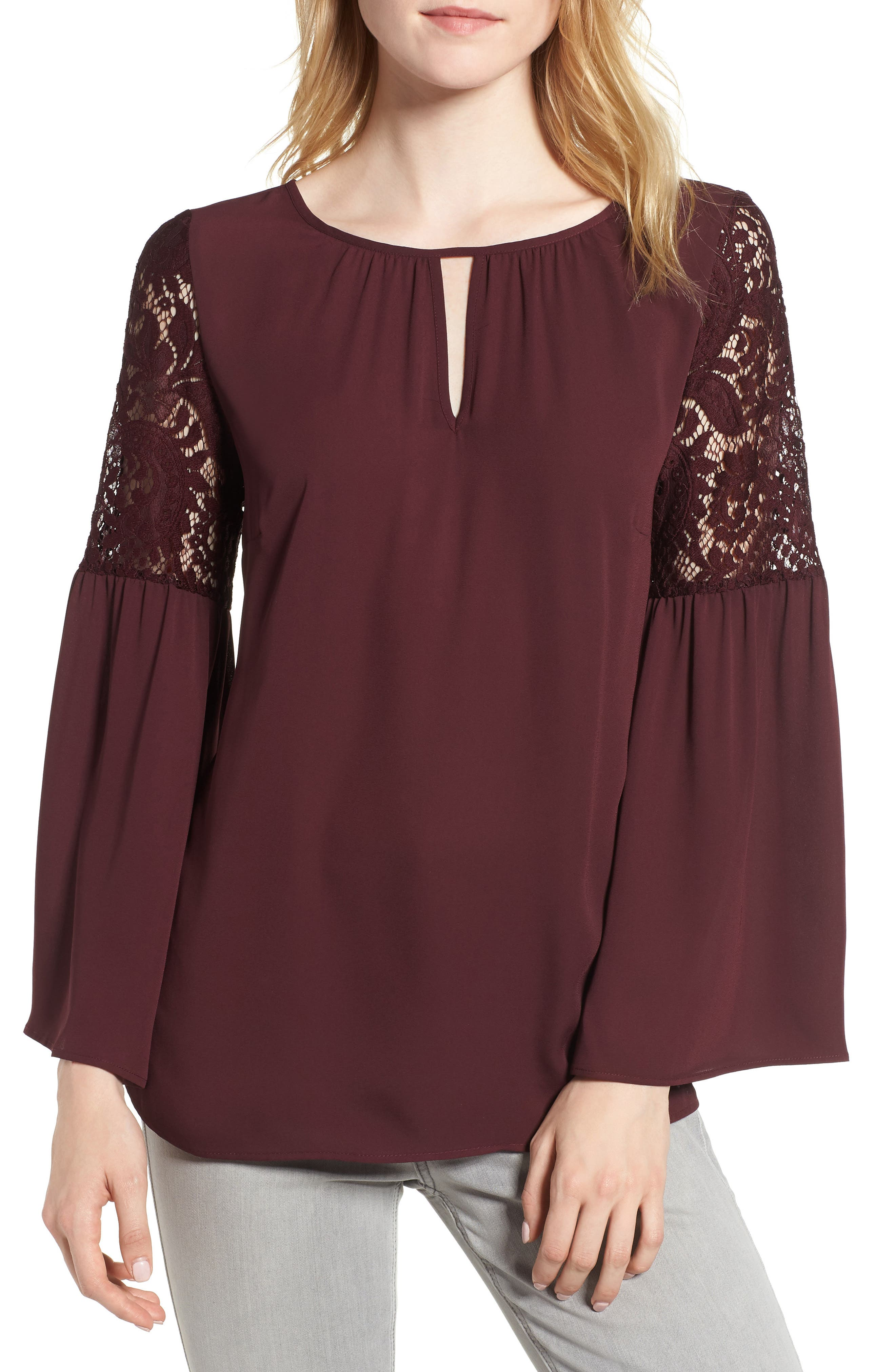 Lace Bell Sleeve Top,                         Main,                         color, BURGUNDY STEM