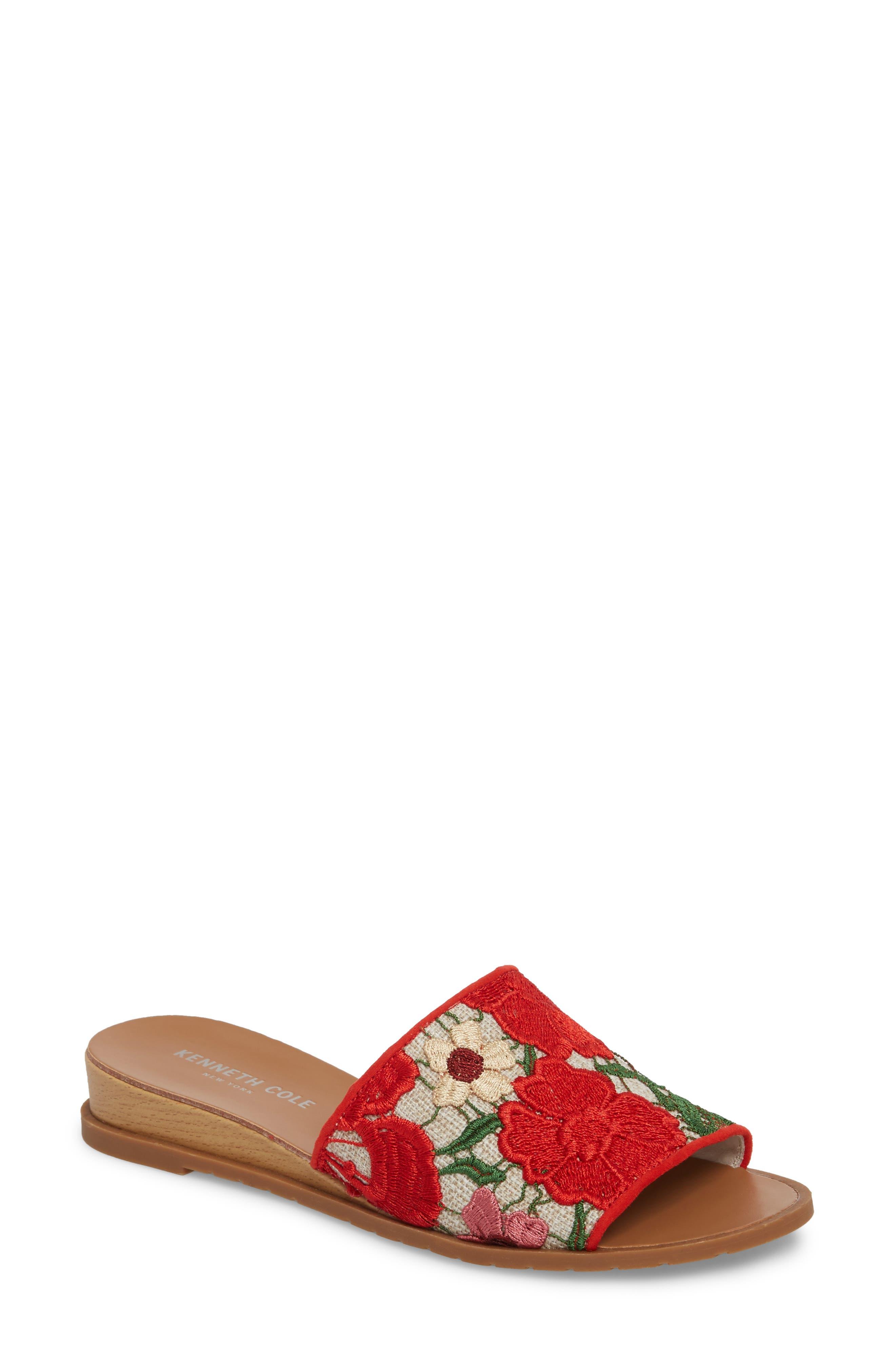 Joanne Flower Embroidered Slide Sandal,                             Main thumbnail 6, color,