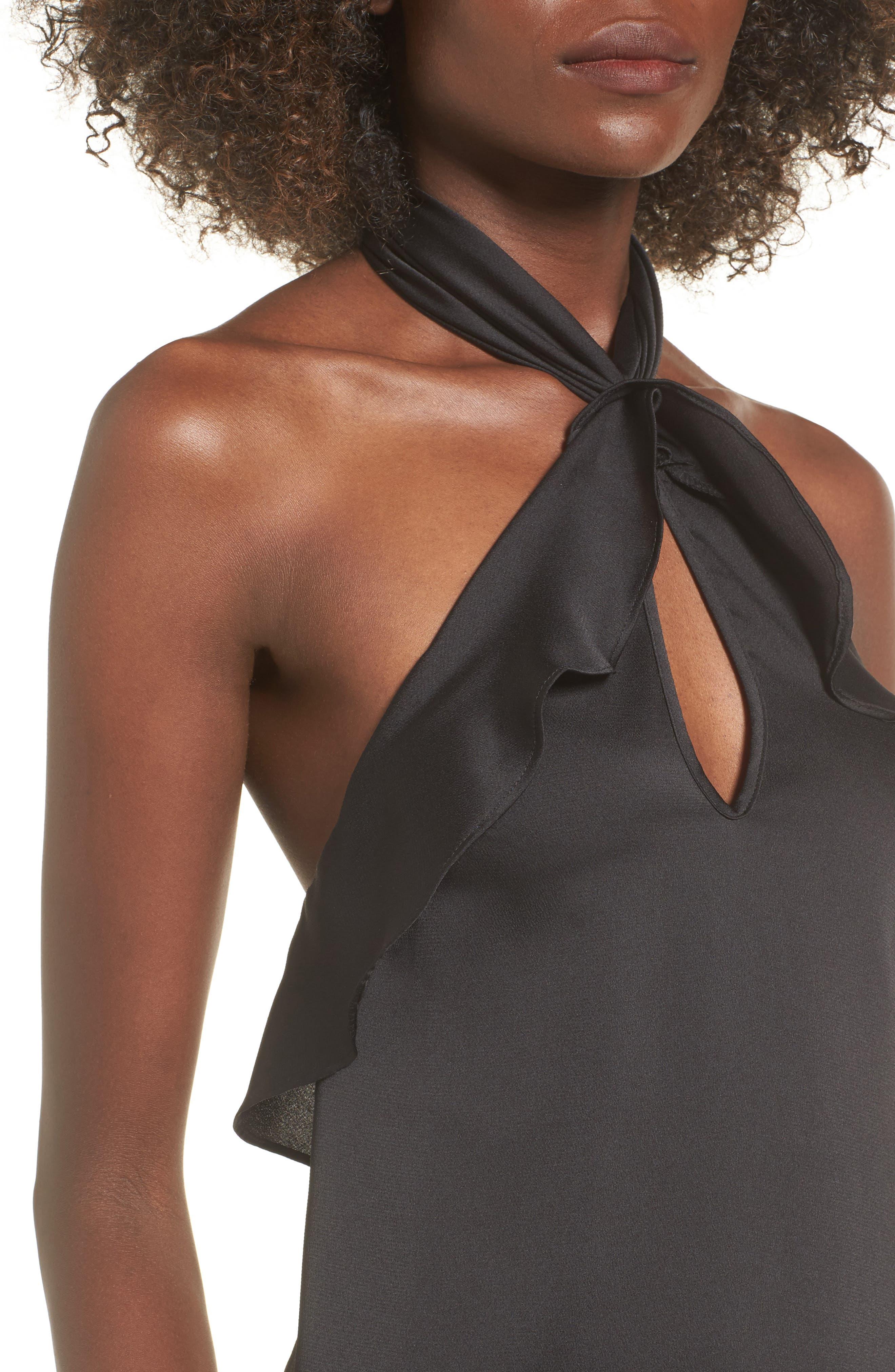 Lola Ruffle Halter Dress,                             Alternate thumbnail 4, color,                             001