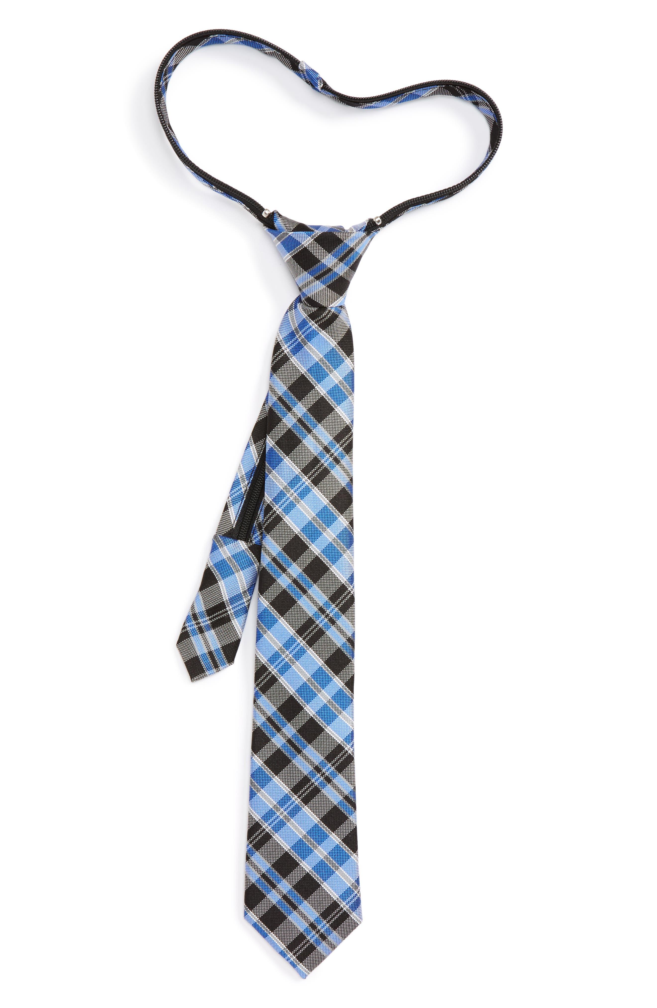 Plaid Silk Zip Tie,                         Main,                         color, 001