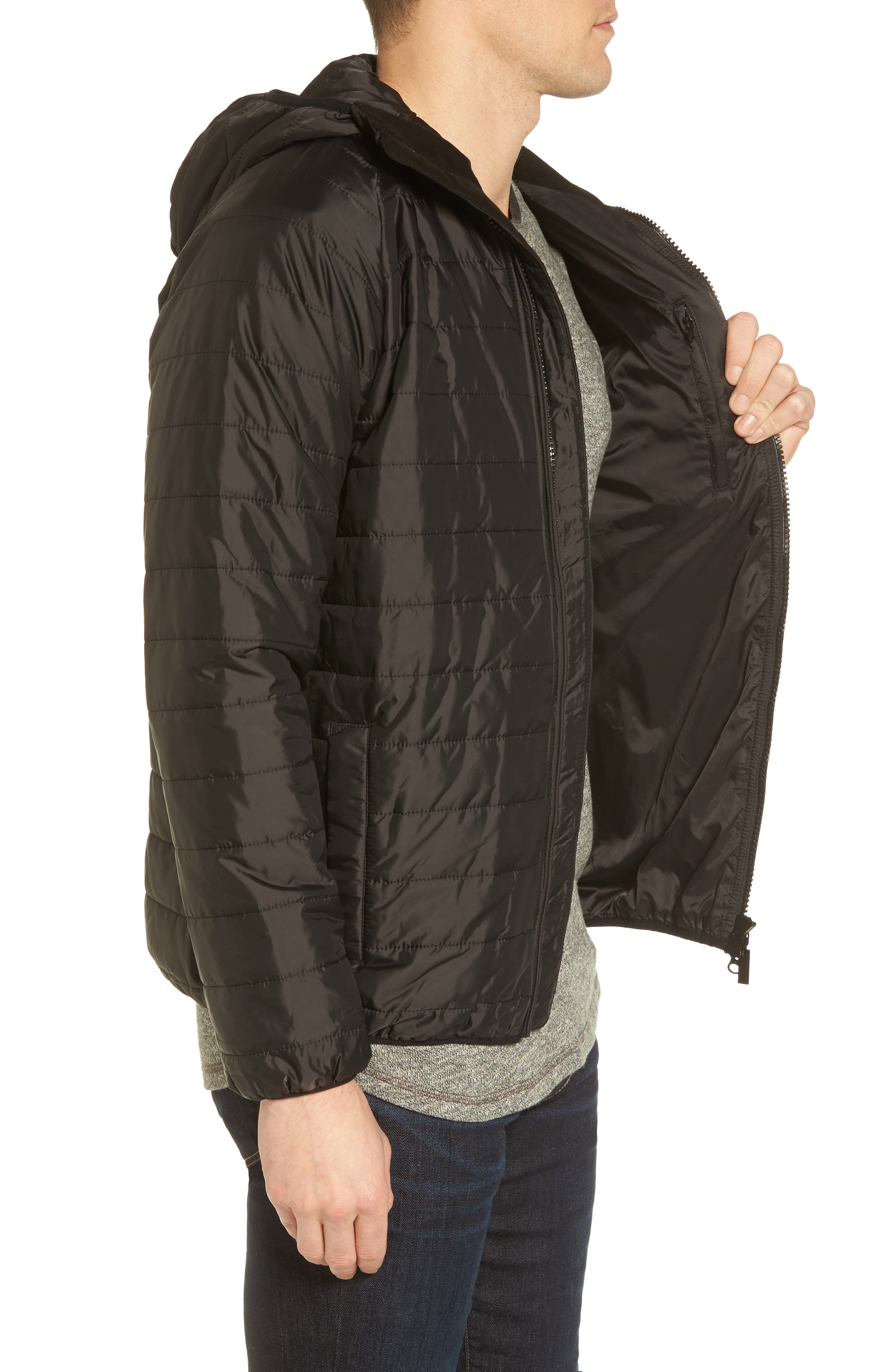 International Level Slim Fit Quilted Hooded Jacket,                             Alternate thumbnail 3, color,                             001