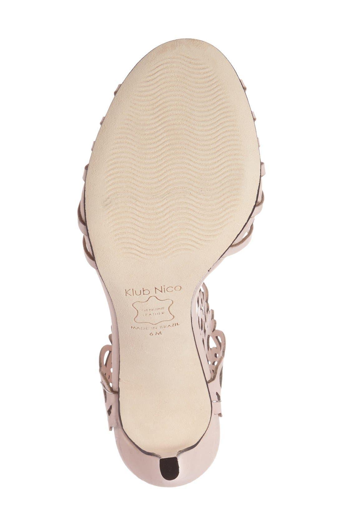 'Moxie' Laser Cutout Sandal,                             Alternate thumbnail 4, color,                             BLUSH NUBUCK LEATHER
