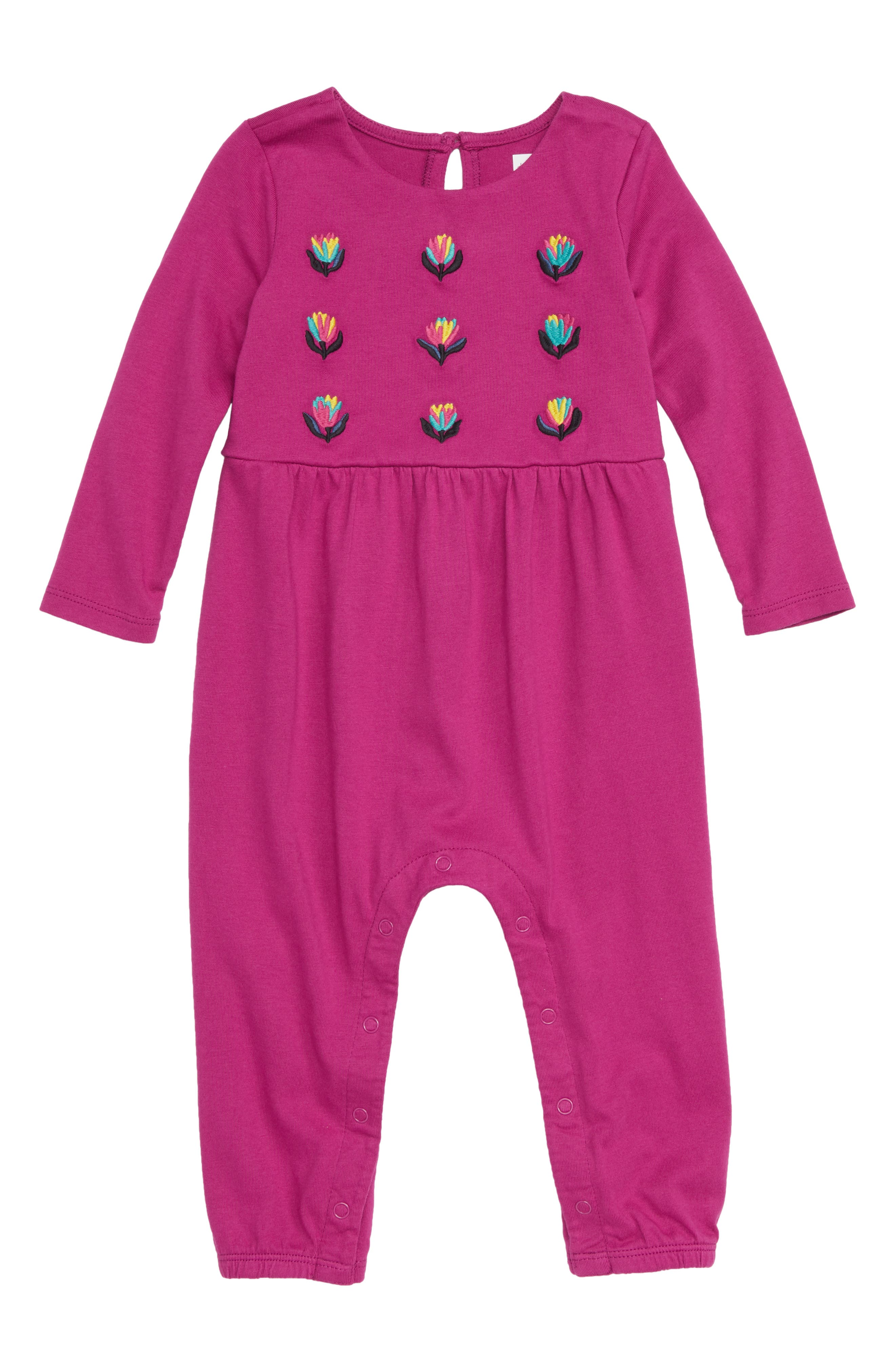 Blooming Embroidered Romper,                             Main thumbnail 1, color,                             693