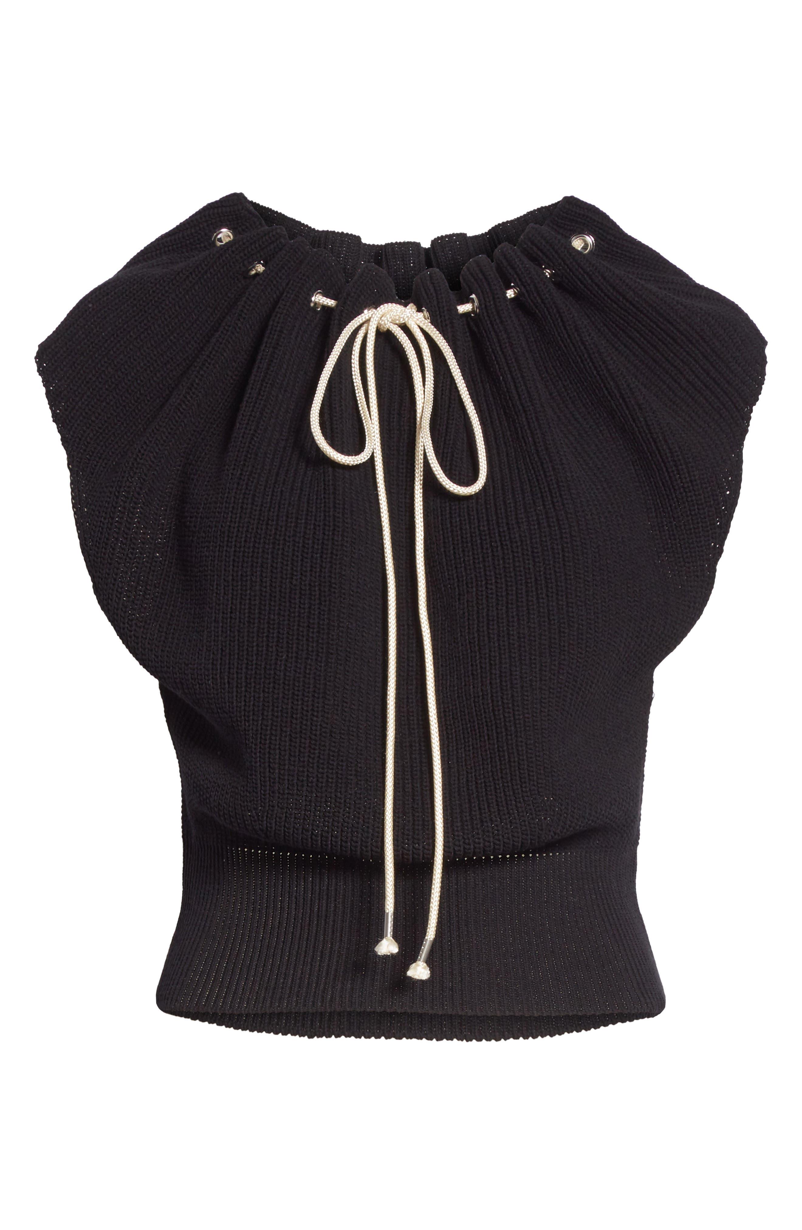 Drawstring Knit Top,                             Alternate thumbnail 6, color,                             001