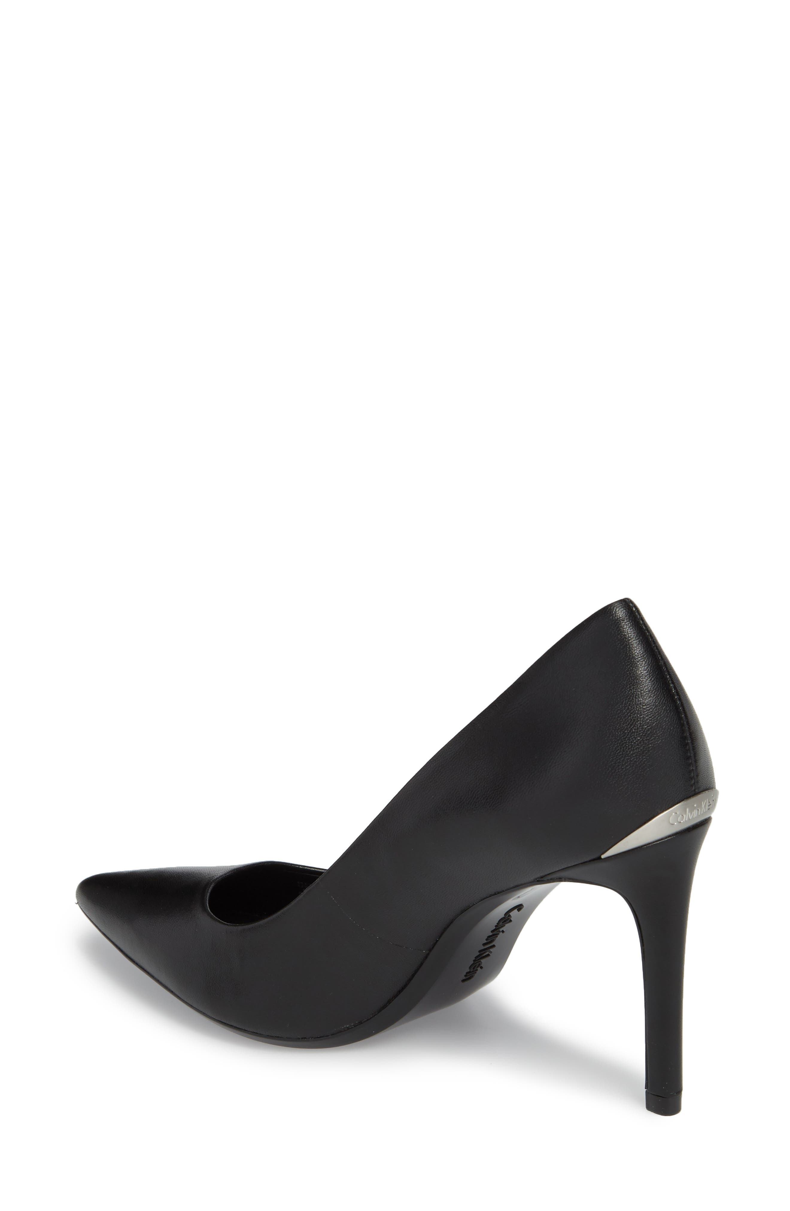 Ronna Pointy Toe Pump,                             Alternate thumbnail 2, color,                             BLACK LEATHER