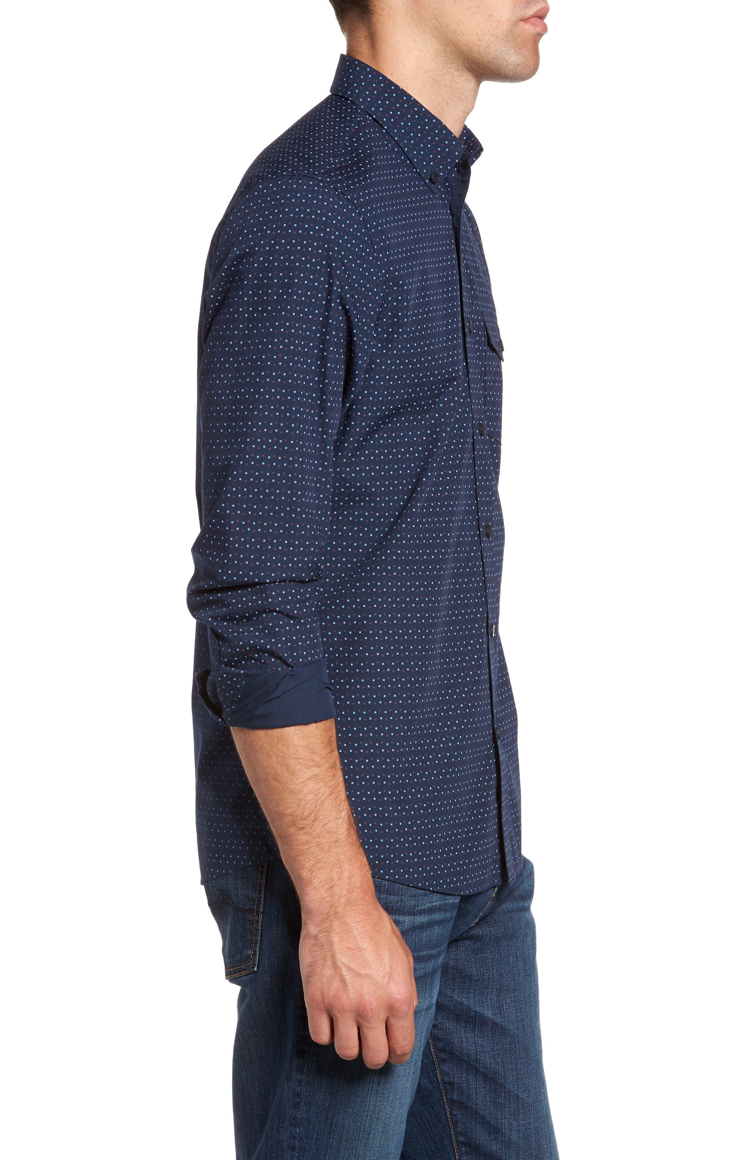 Ivy Trim Fit Print Sport Shirt,                             Alternate thumbnail 3, color,                             410