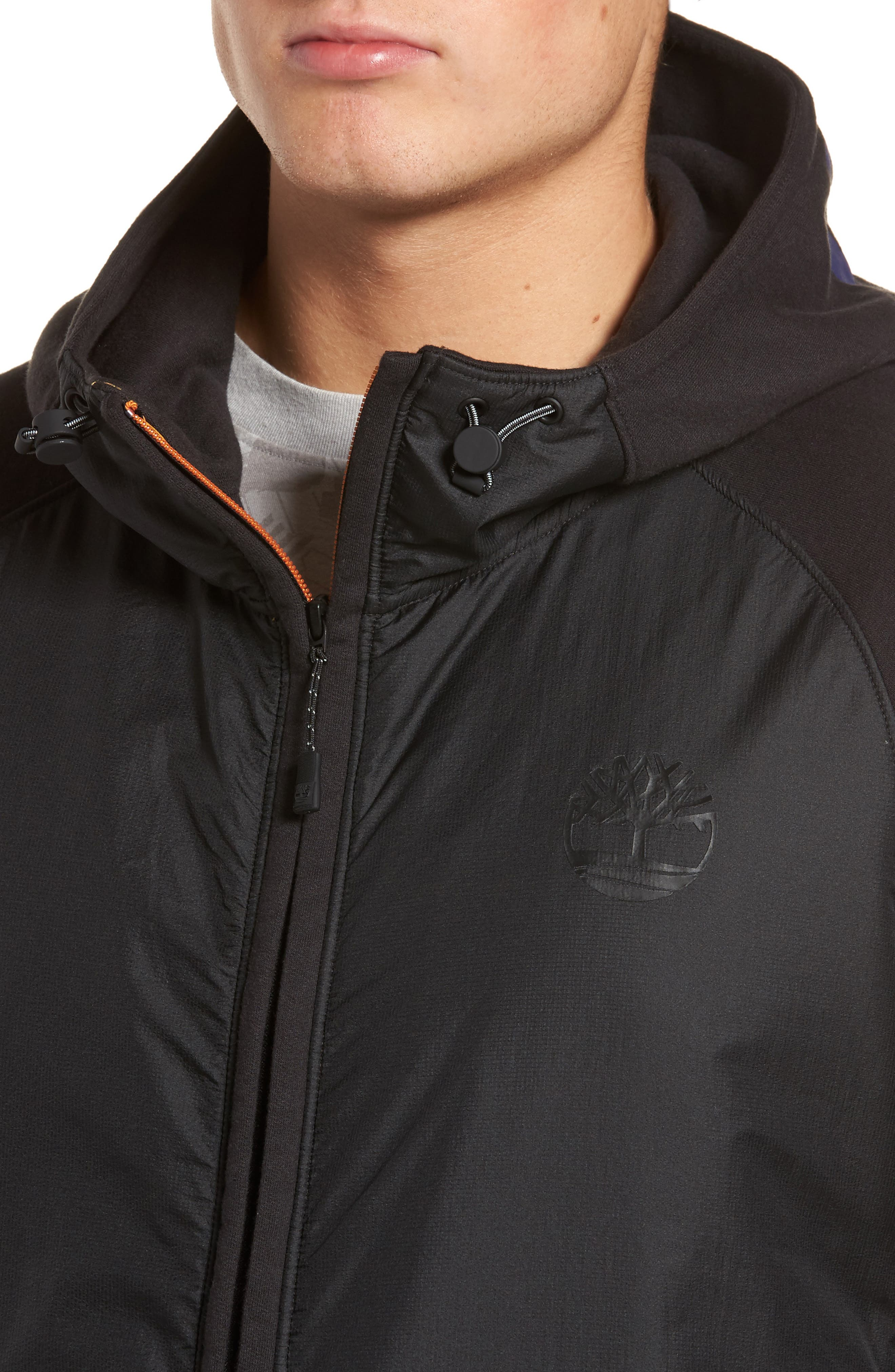 Mixed Media Hooded Jacket,                             Alternate thumbnail 4, color,                             001