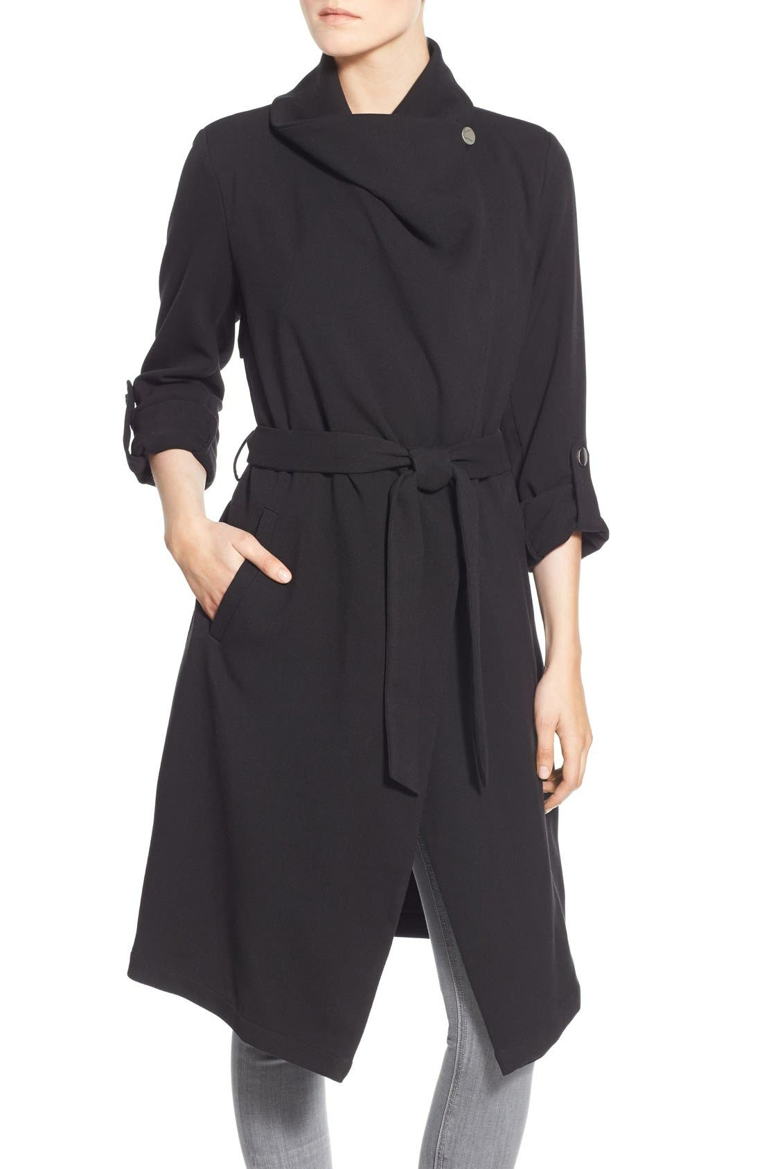Roll Sleeve Drape Front Long Trench Coat,                             Alternate thumbnail 20, color,