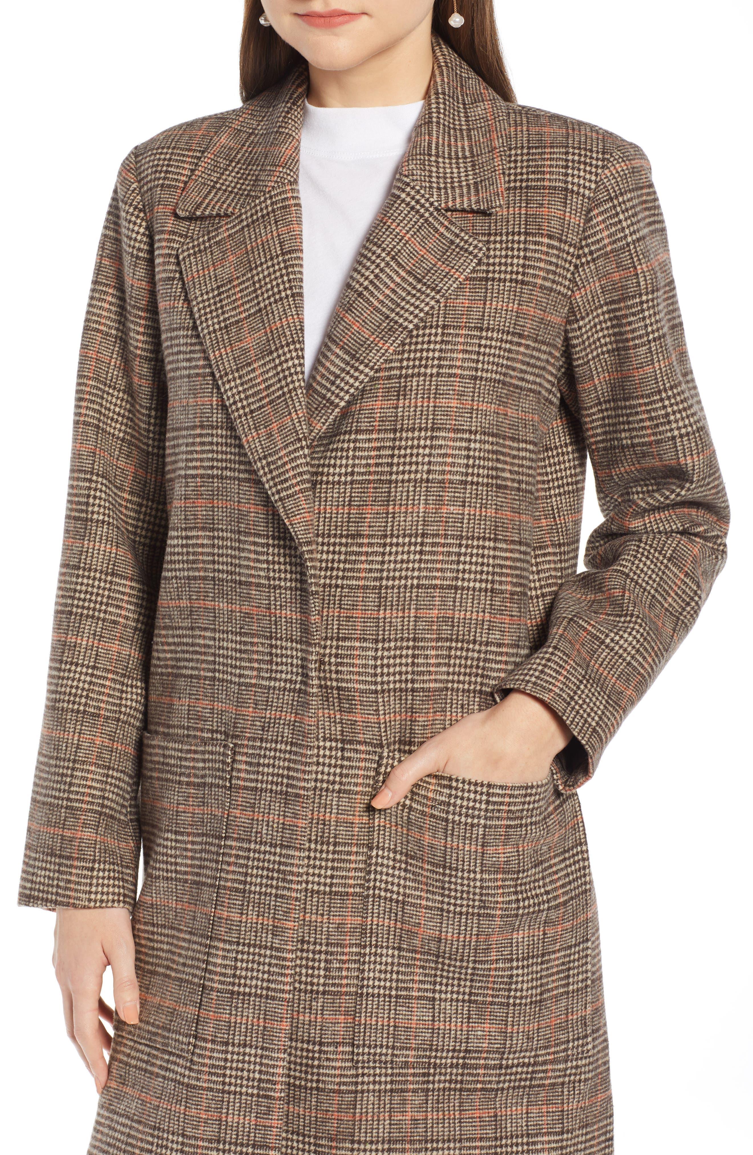 SOMETHING NAVY,                             Patch Pocket Plaid Coat,                             Alternate thumbnail 4, color,                             210