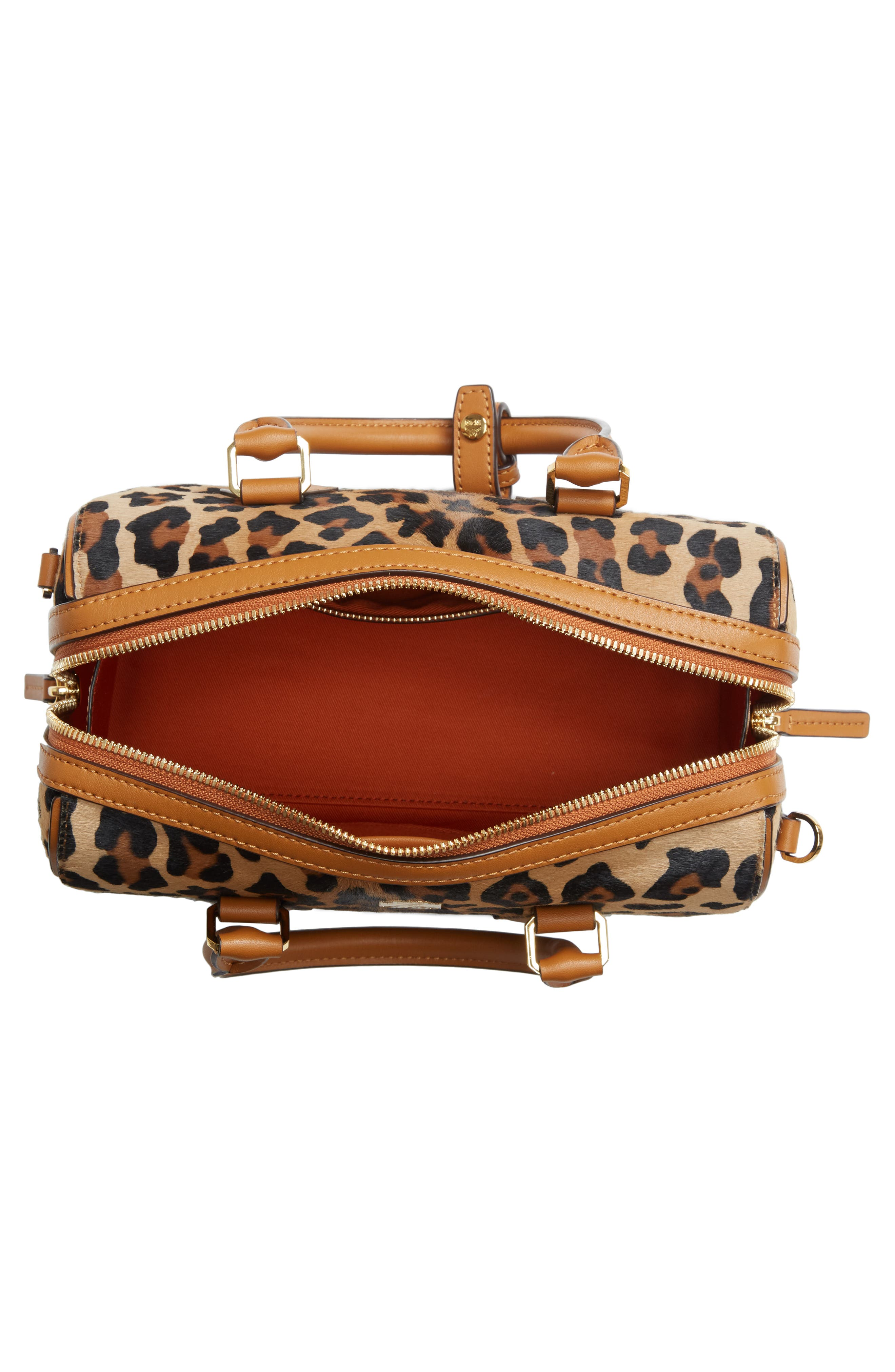 MCM,                             Small Boston Leopard Calf Hair Bowler Bag,                             Alternate thumbnail 6, color,                             LEOPARD