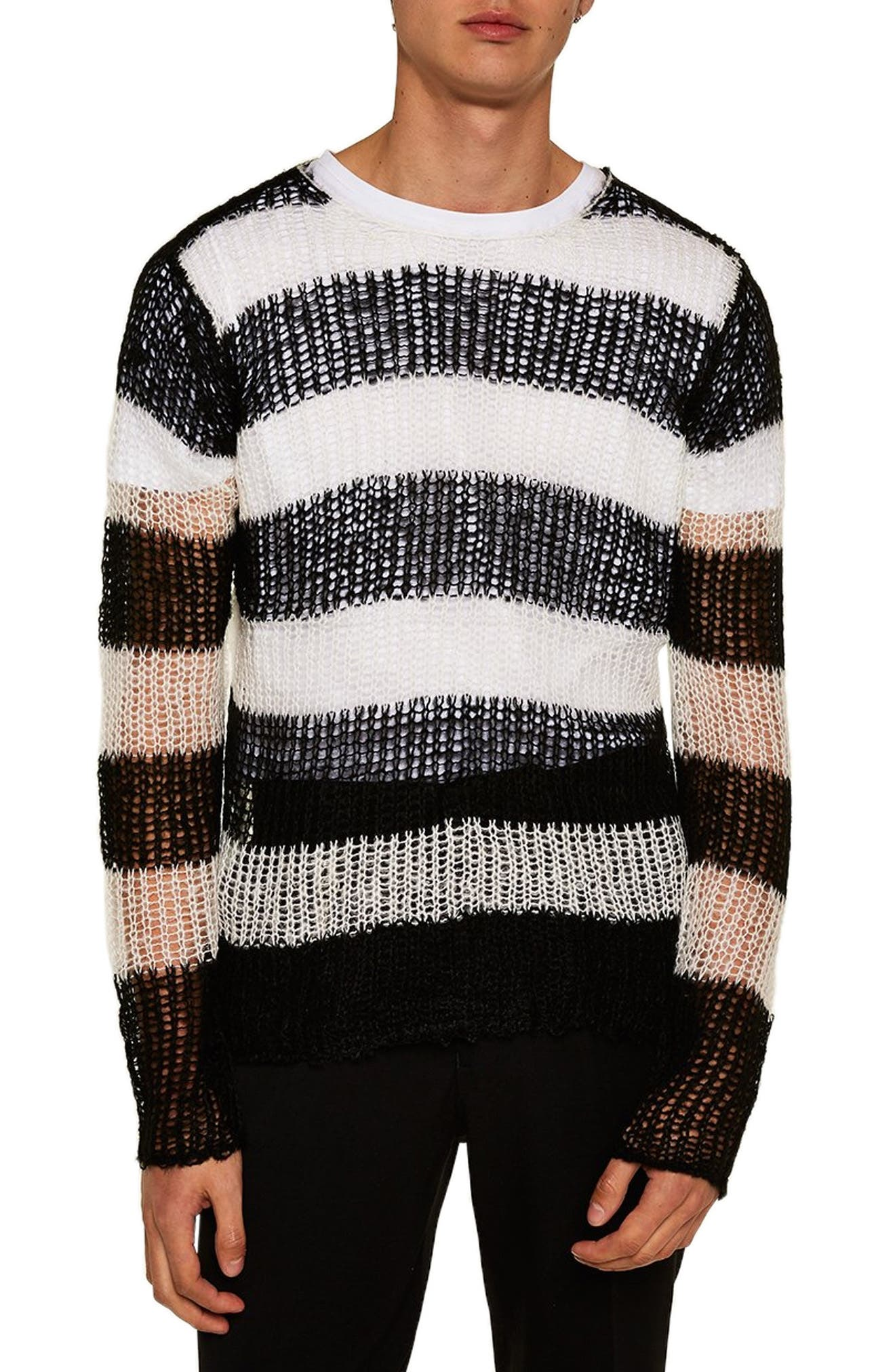 Stripe Classic Fit Sweater,                         Main,                         color, 001