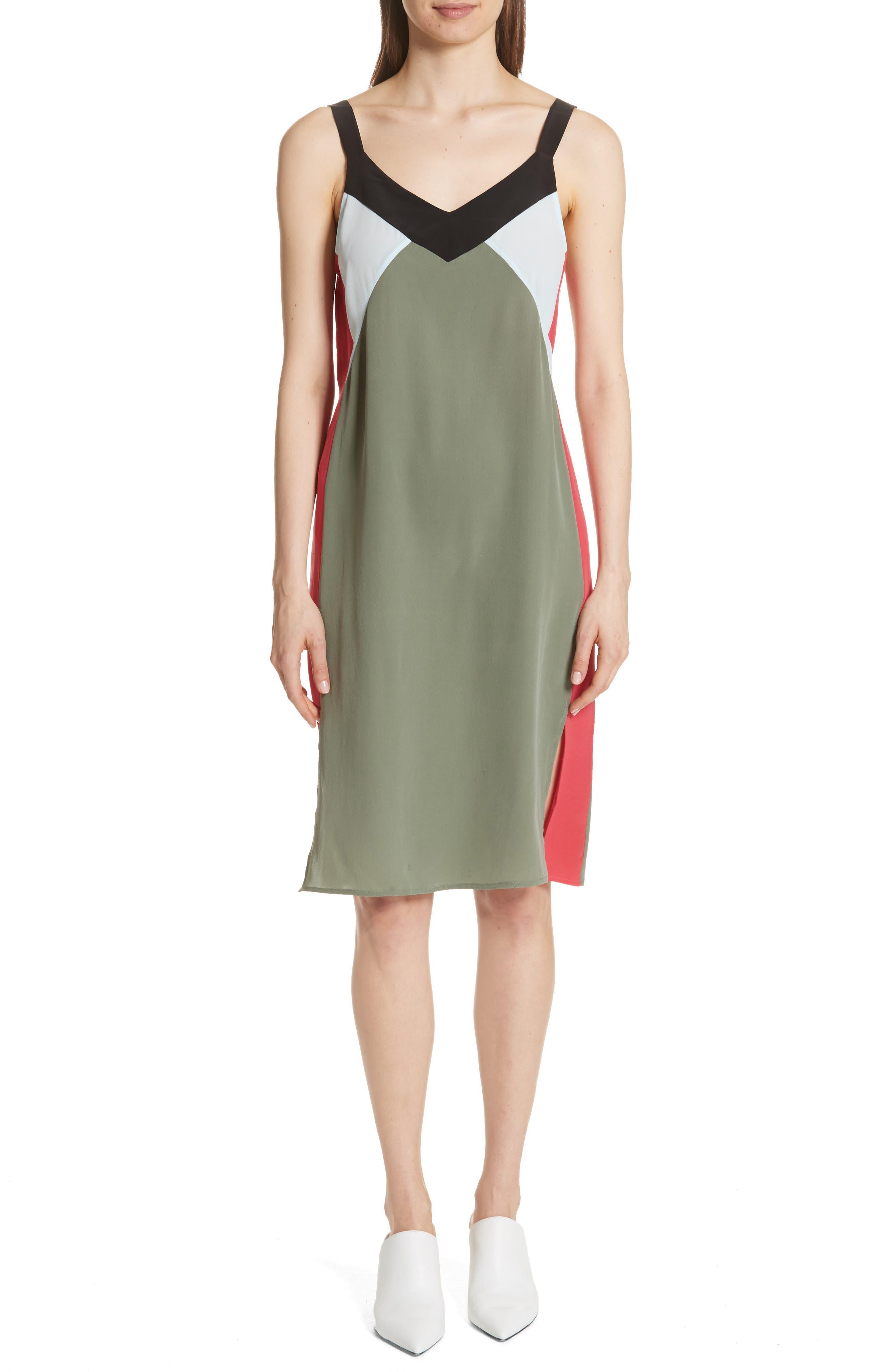 Robbi Colorblock Silk Slipdress,                         Main,                         color, 363