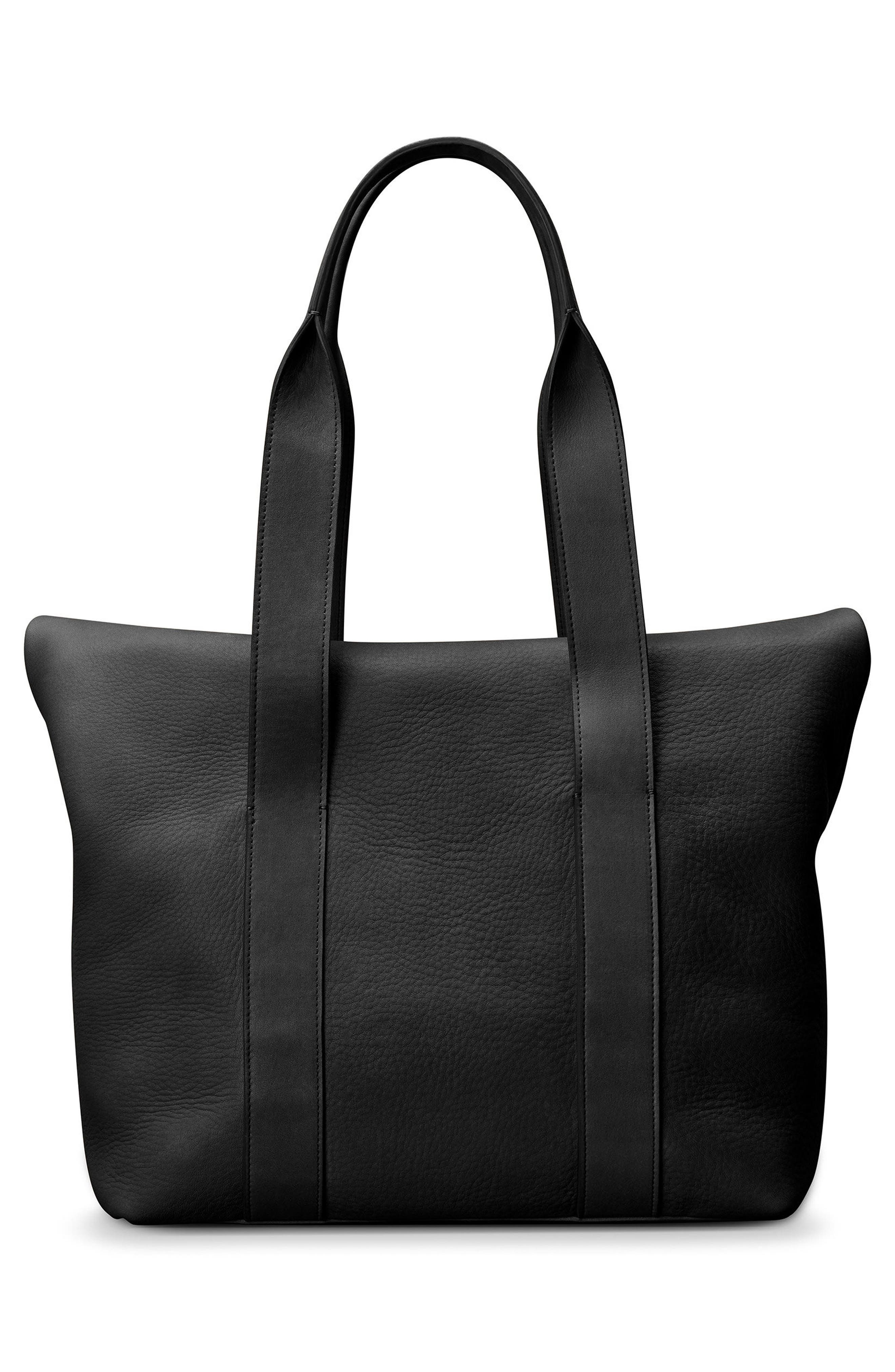 Cass Dearborn Leather Tote,                             Alternate thumbnail 3, color,                             BLACK