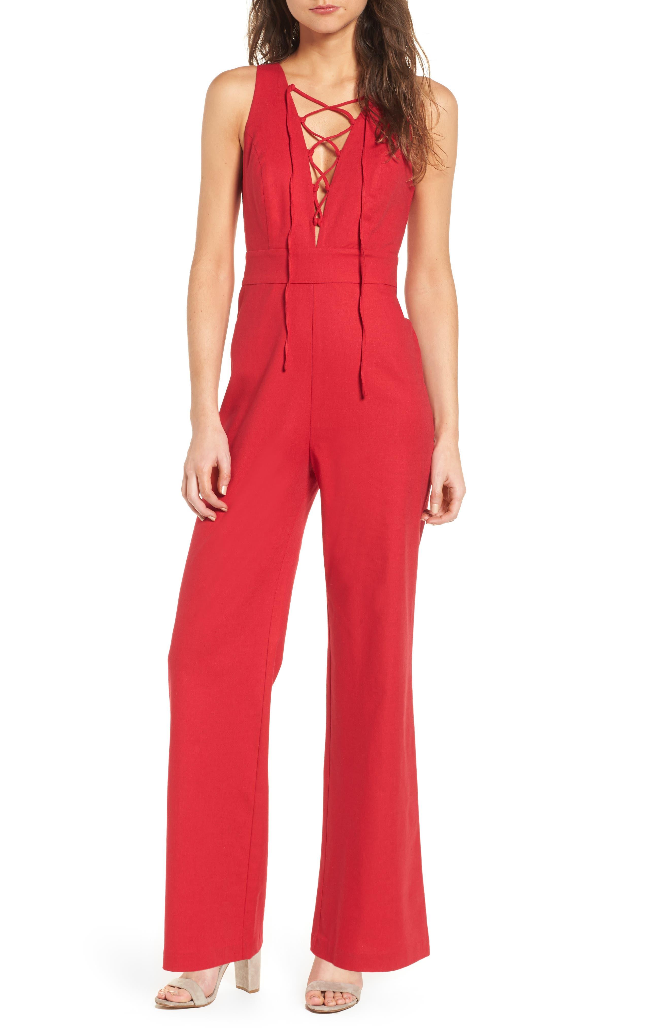 Cara Lace-Up Jumpsuit,                         Main,                         color, 600