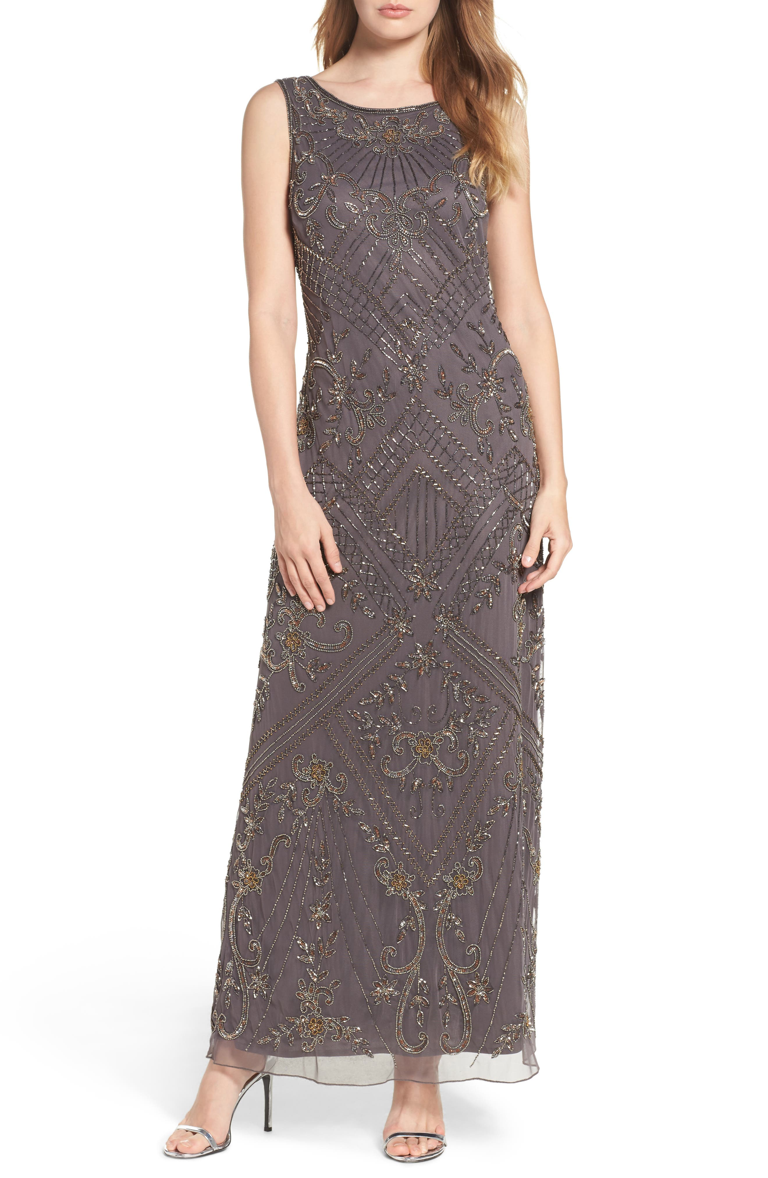 Embroidered Mesh Gown,                             Main thumbnail 2, color,