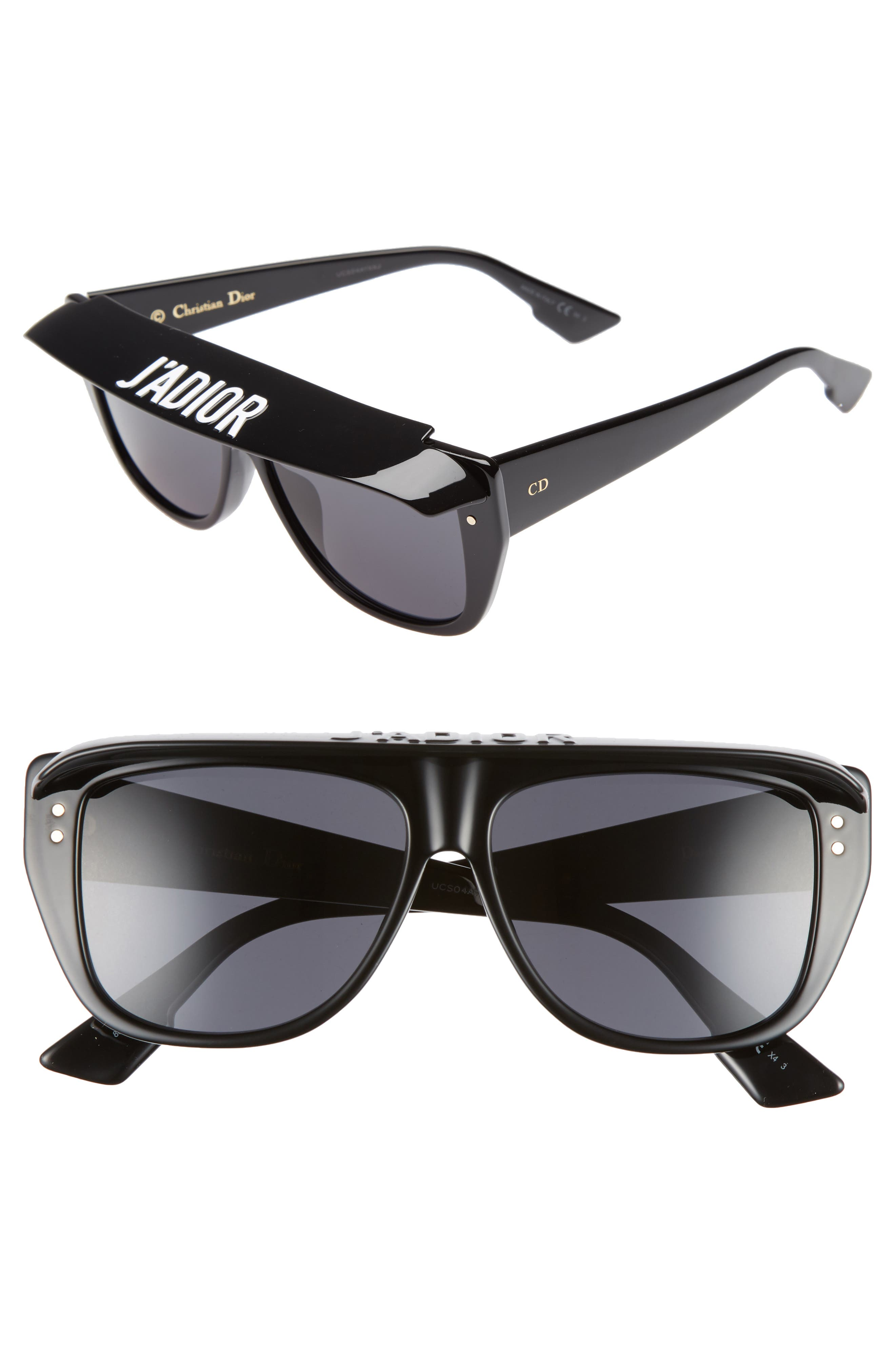 DiorClub2S 56mm Square Sunglasses with Removable Visor,                         Main,                         color, BLACK