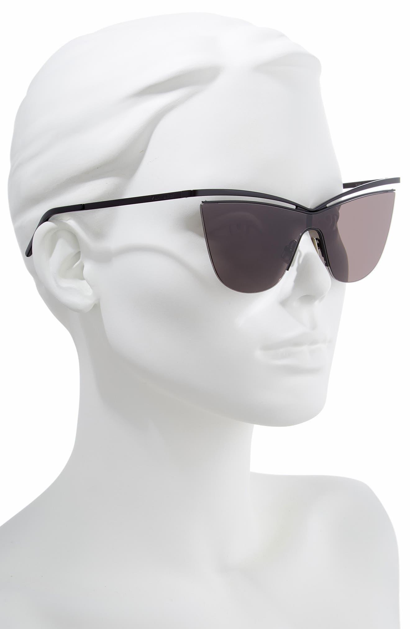 134mm Cat Eye Shield Sunglasses,                             Alternate thumbnail 2, color,                             BLACK/ BLACK