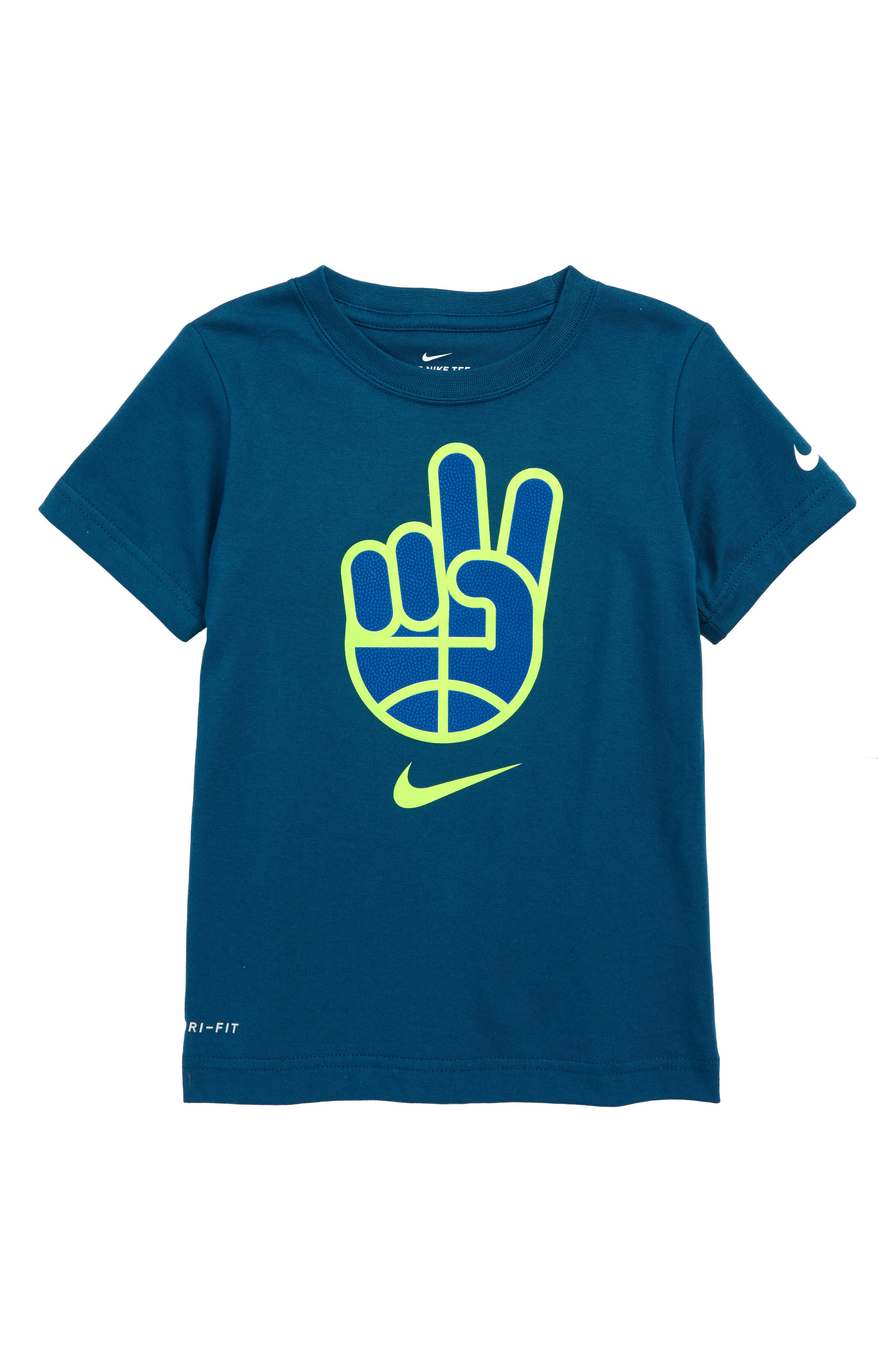 Dry B-Ball Peace T-Shirt,                         Main,                         color, BLUE FORCE