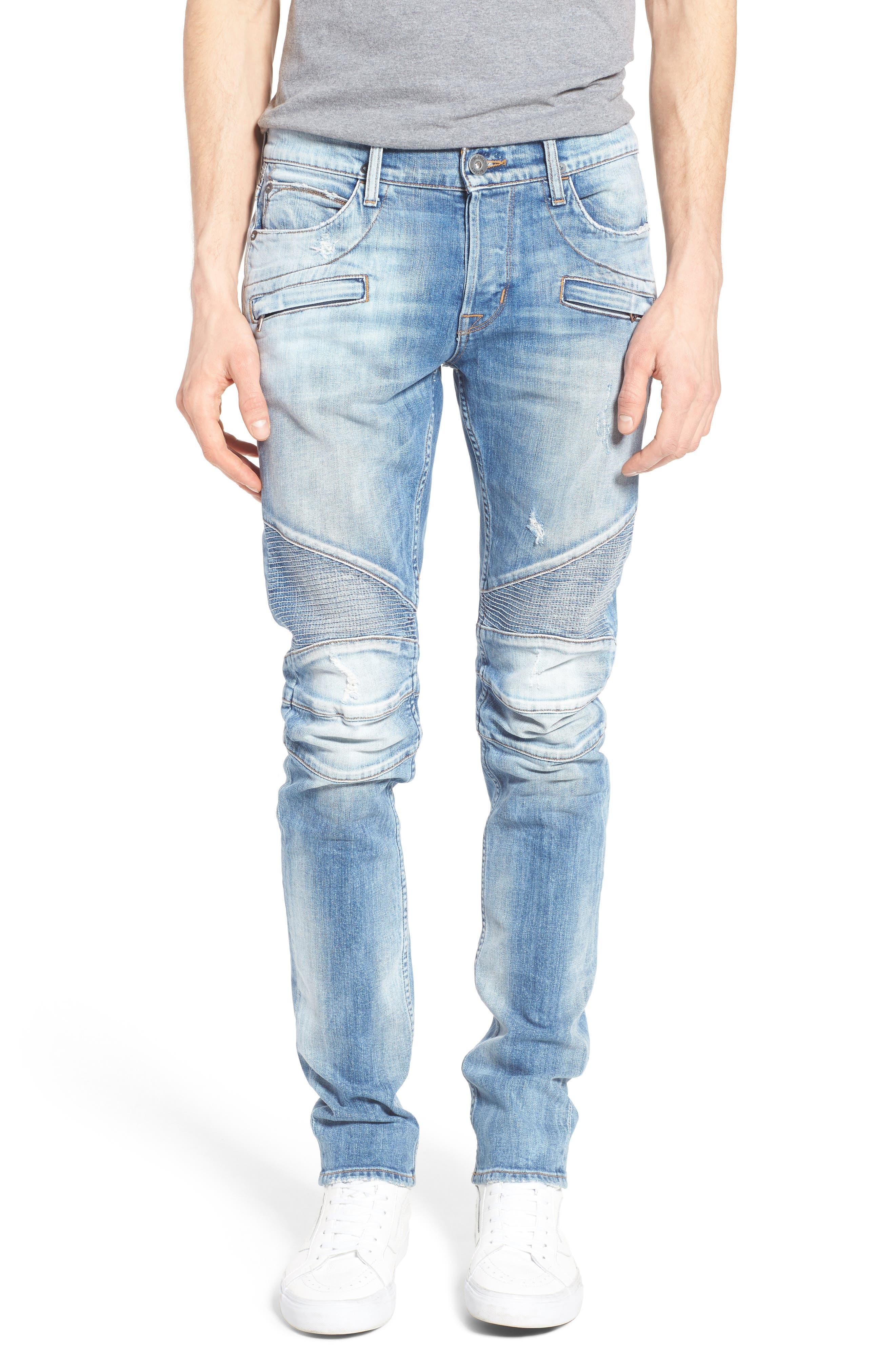Blinder Skinny Fit Moto Jeans,                         Main,                         color, THRASH