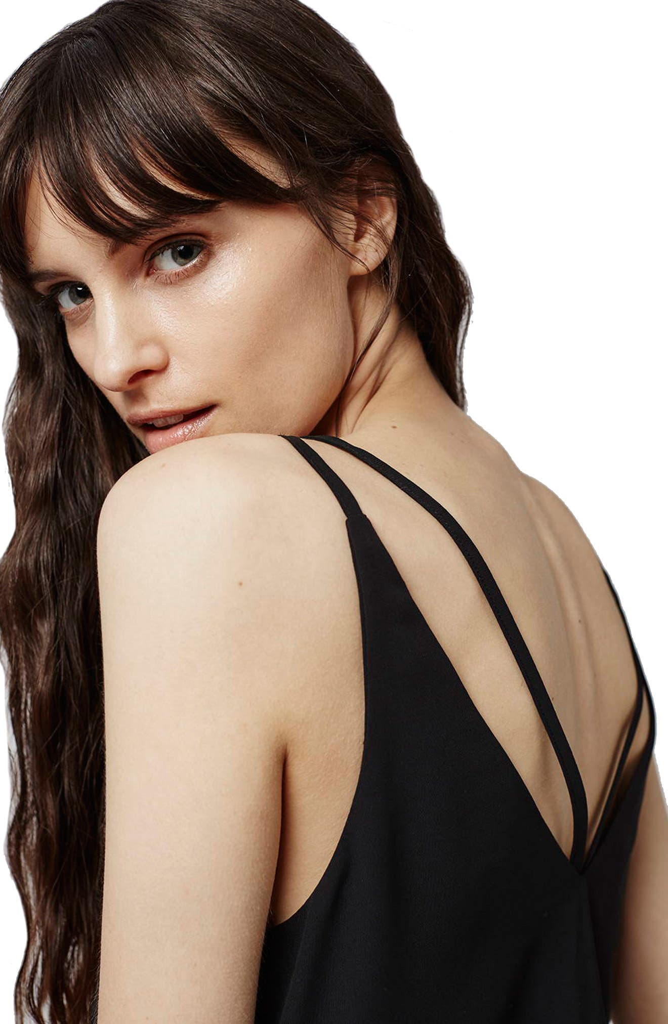 TOPSHOP,                             Double Strap V-Back Camisole,                             Alternate thumbnail 4, color,                             001