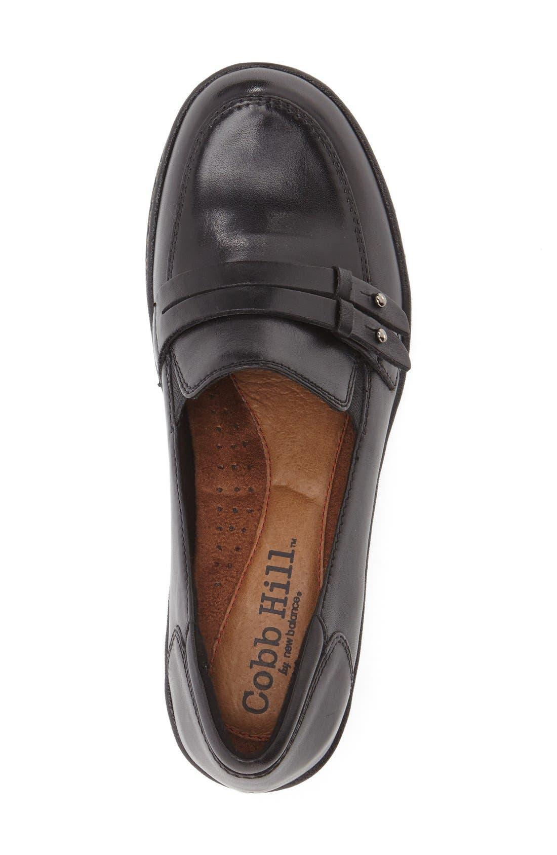 Cobb Hill 'Deidre' Loafer,                             Alternate thumbnail 3, color,                             BLACK LEATHER