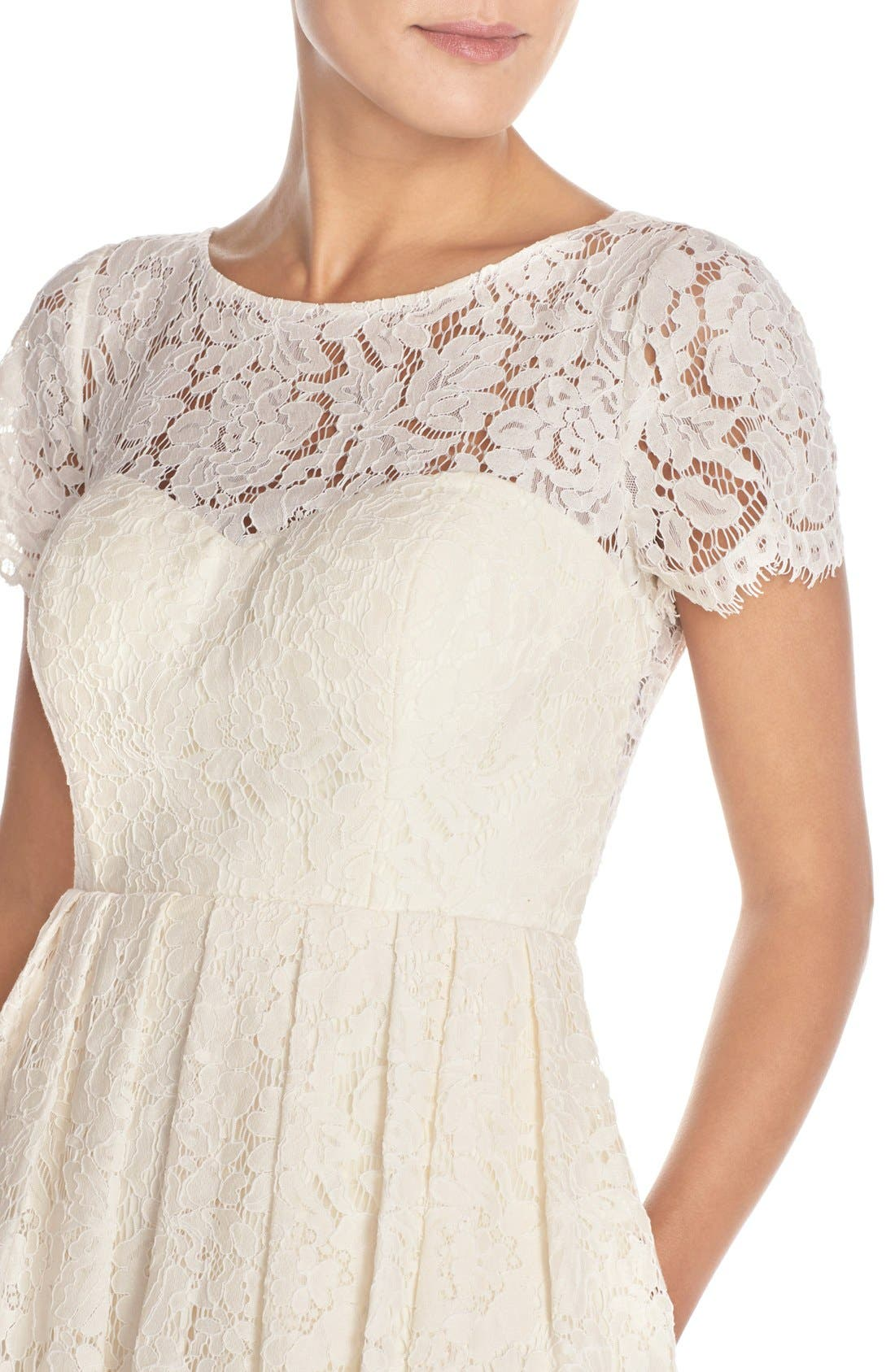 Cadence Keyhole Back Lace Fit & Flare Dress,                             Alternate thumbnail 4, color,                             905