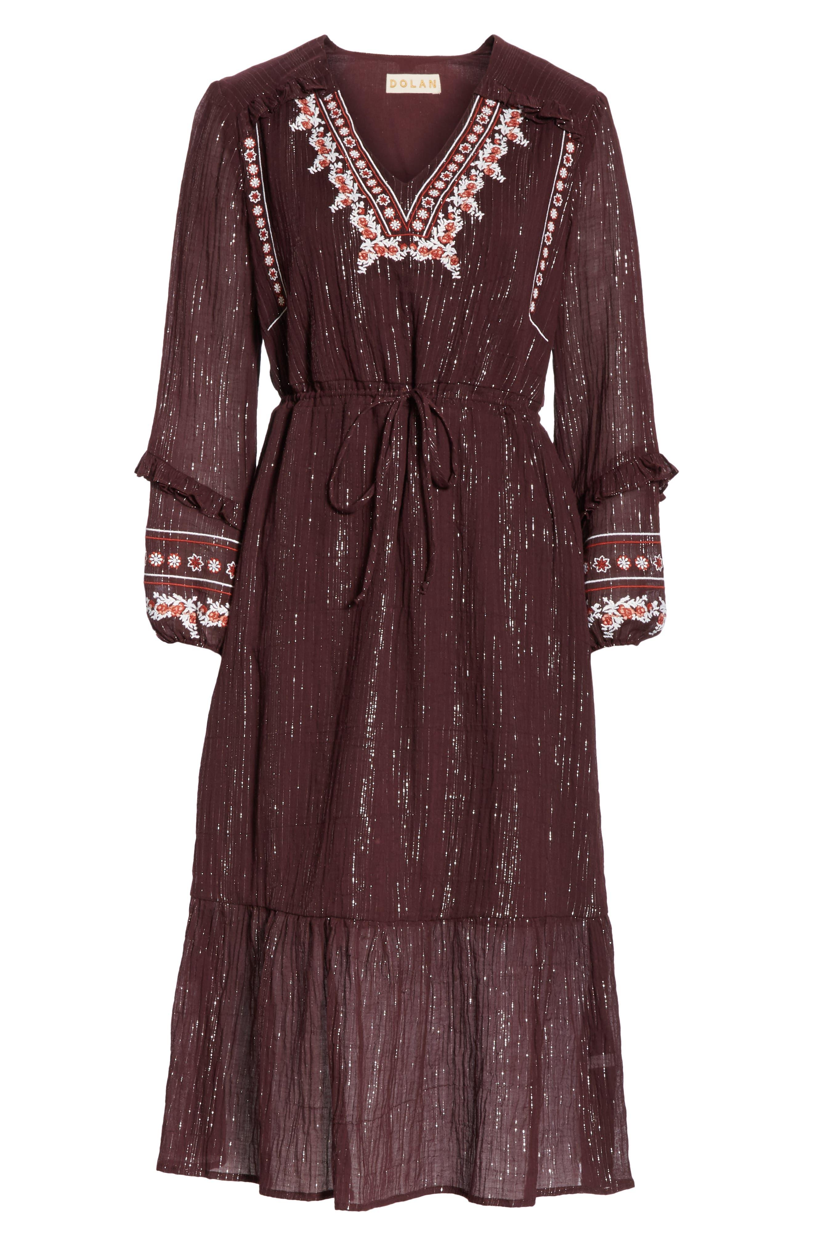 Rashida Embroidered Midi Dress,                             Alternate thumbnail 7, color,                             MULBERRY