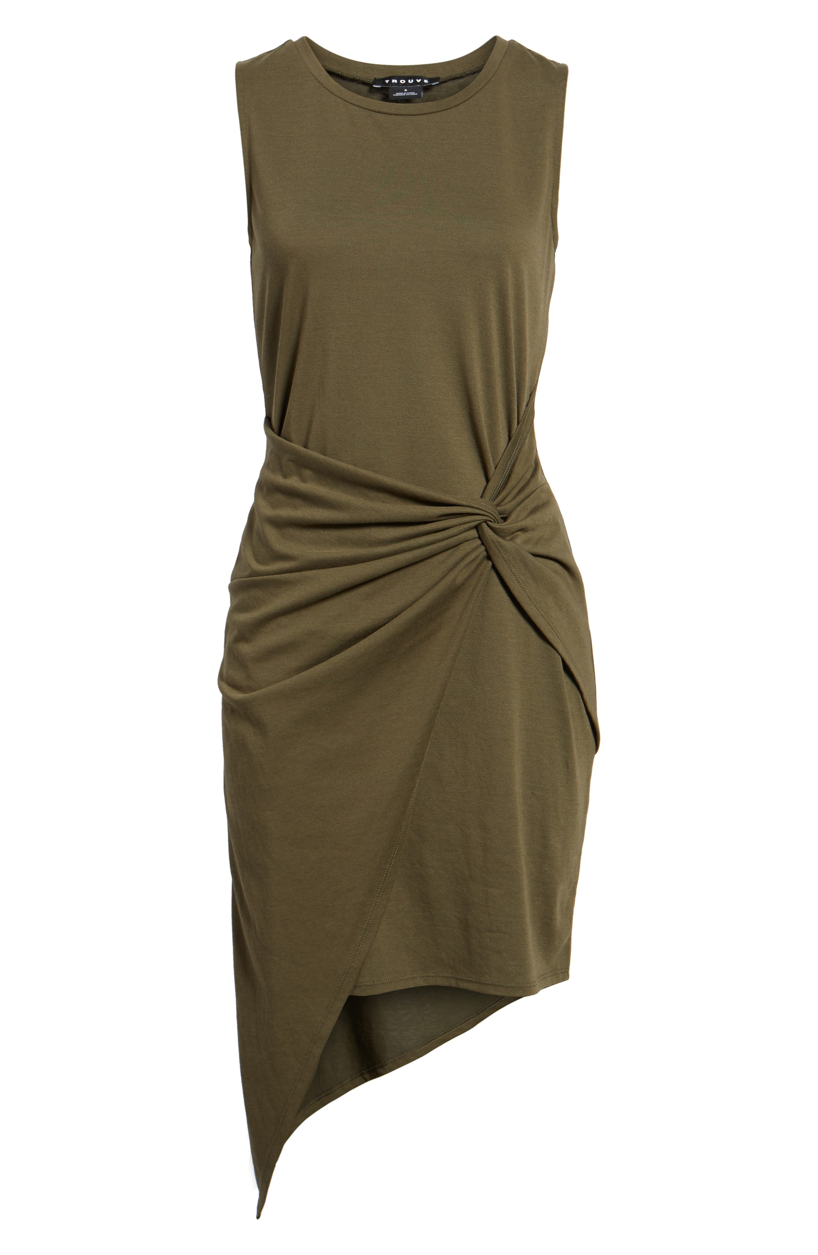 Twist Front Dress,                             Alternate thumbnail 7, color,                             OLIVE SARMA