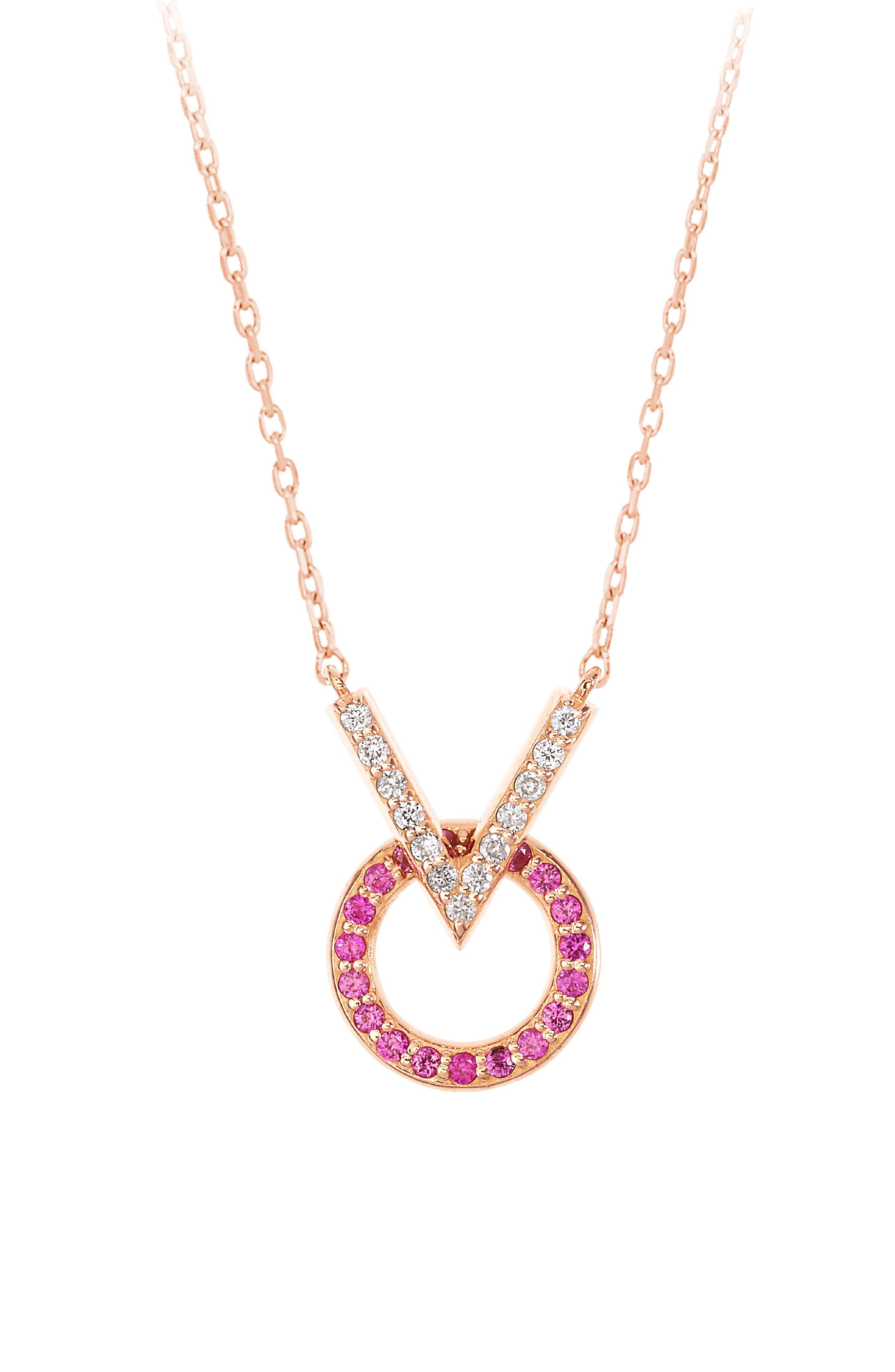 Baby Memphis V Round Diamond & Pink Sapphire Necklace,                             Main thumbnail 1, color,                             ROSE GOLD/ PINK SAPPHIRE