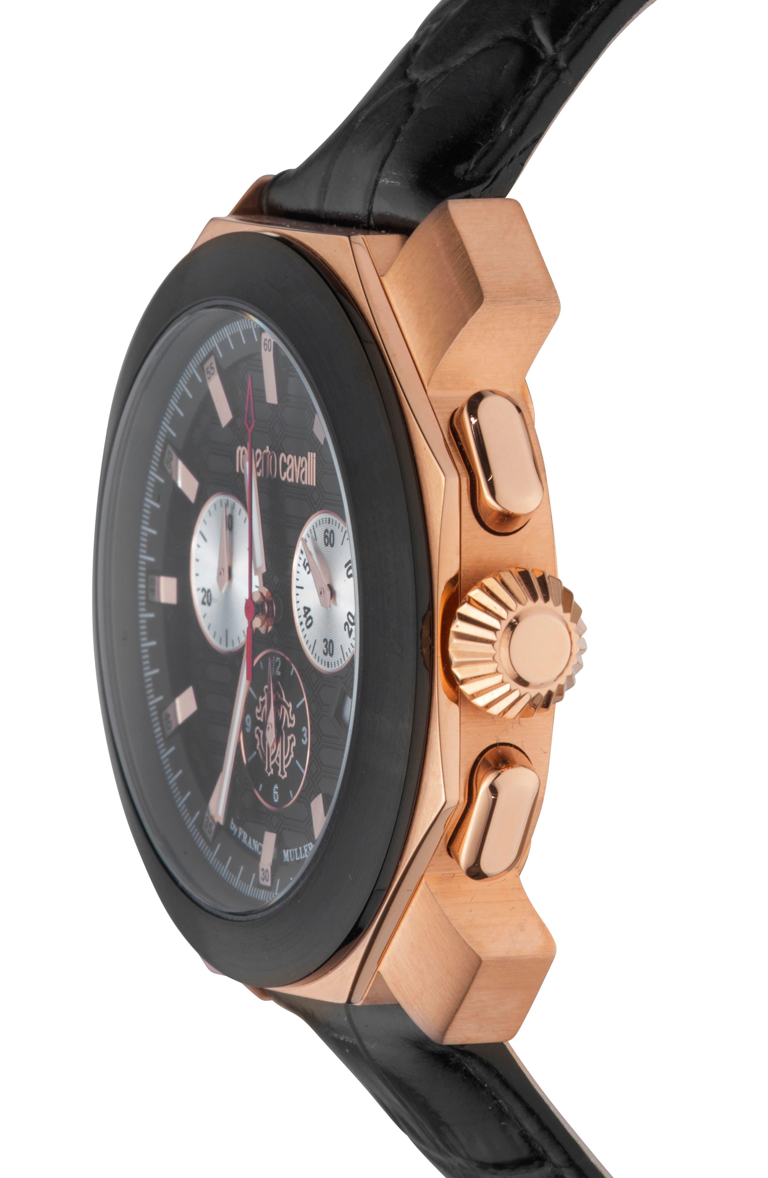 Sport Chronograph Leather Strap Watch,                             Alternate thumbnail 3, color,                             BLACK/ ROSE GOLD/ BLACK