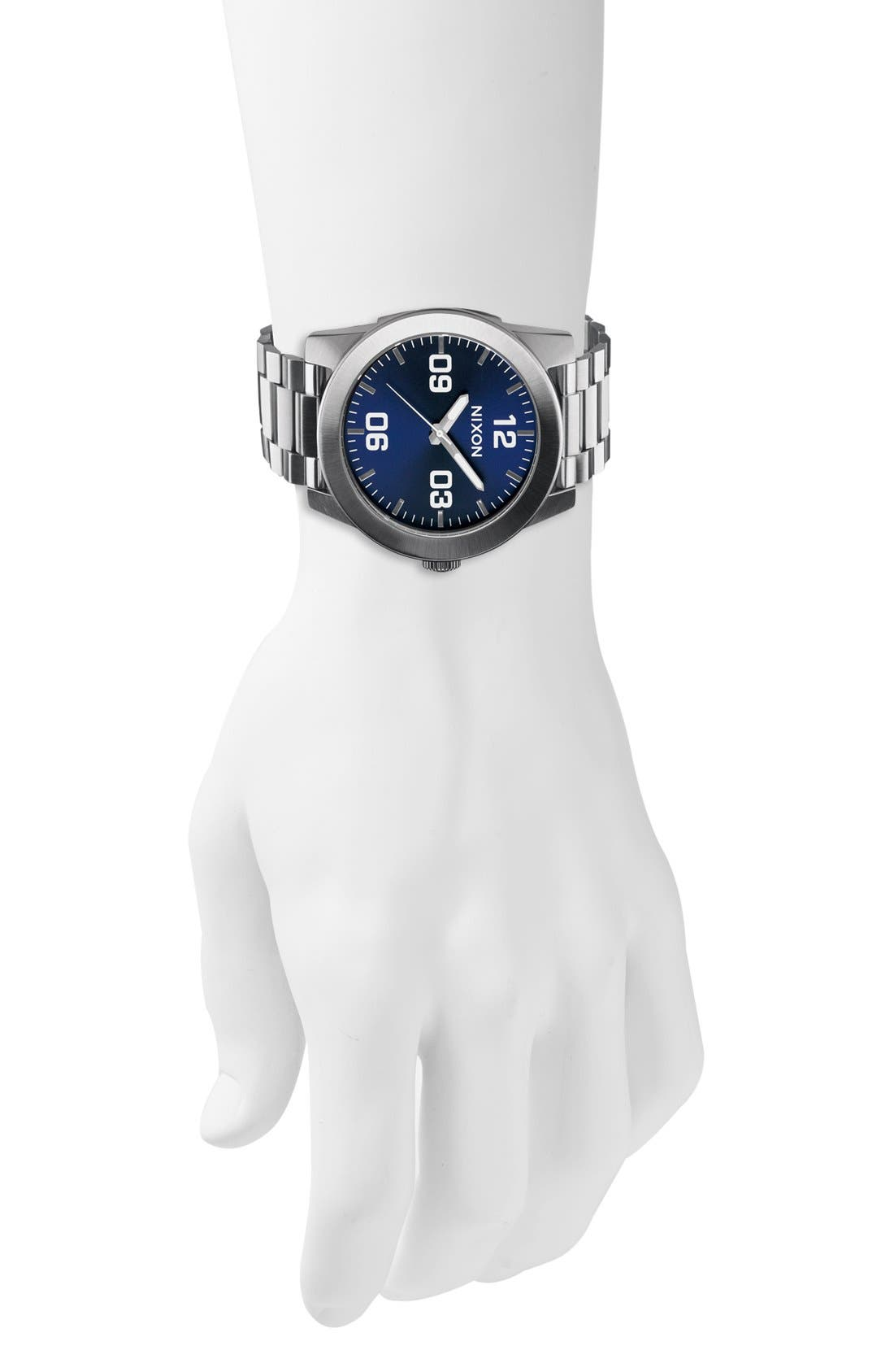 'The Corporal' Bracelet Watch, 48mm,                             Alternate thumbnail 3, color,                             SILVER/ BLUE SUNRAY