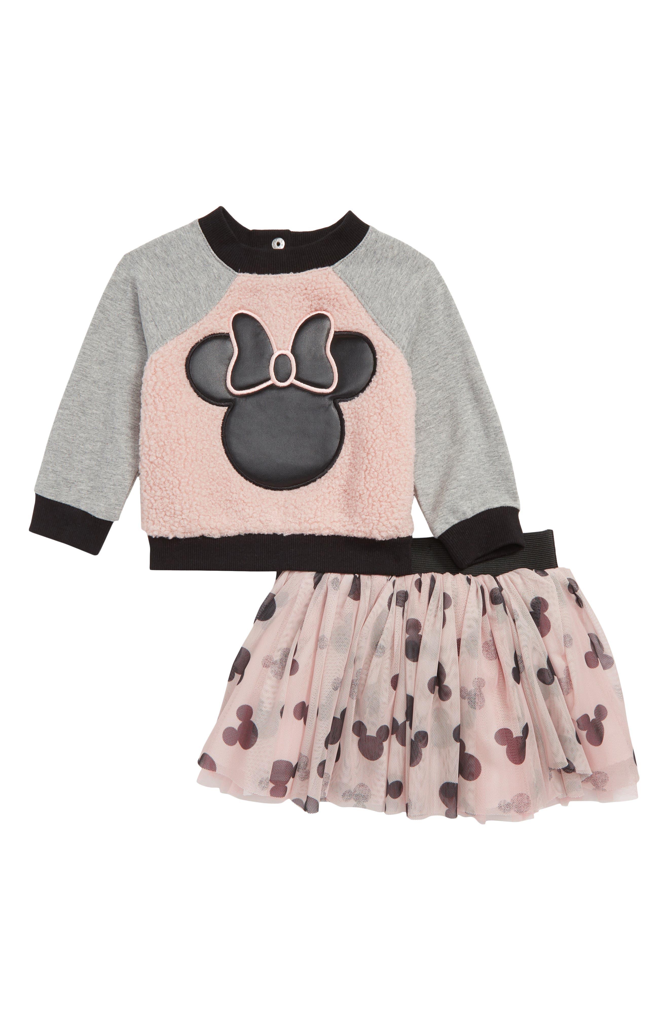 x Disney Minnie Mouse Pullover & Tutu Skirt Set,                         Main,                         color, PINK/ GREY