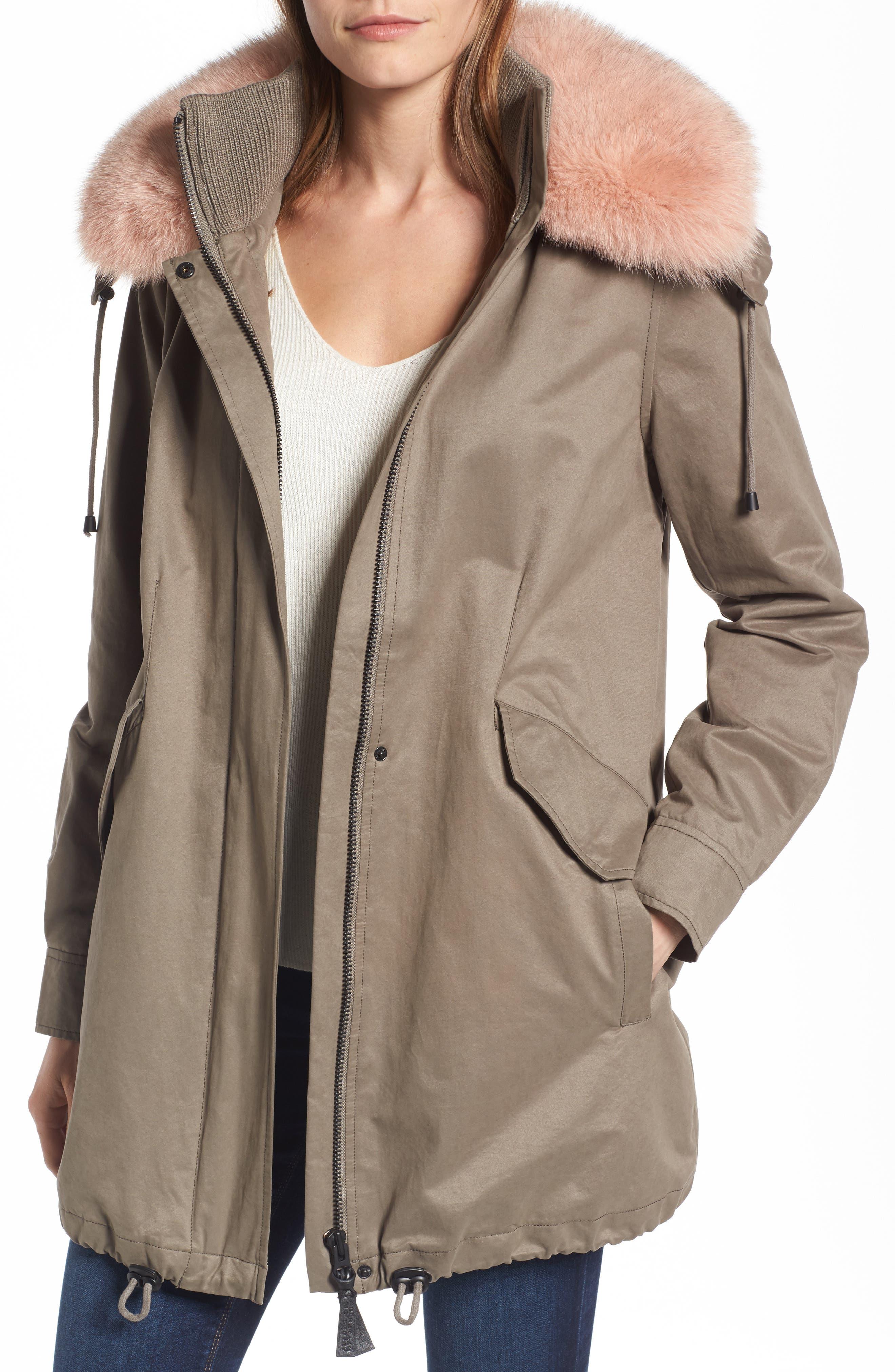 Parka with Genuine Fox Fur Trim, Main, color, 303