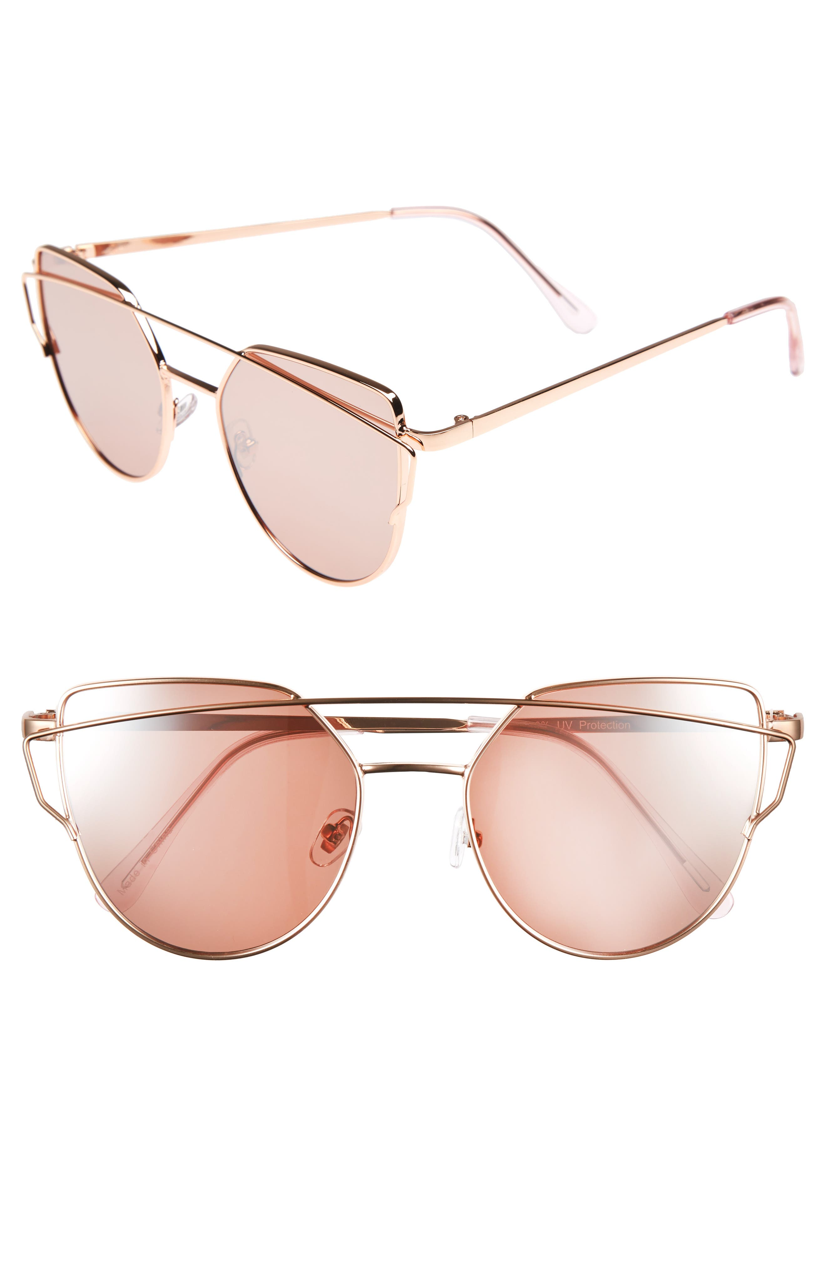 51mm Thin Brow Angular Aviator Sunglasses,                             Main thumbnail 5, color,
