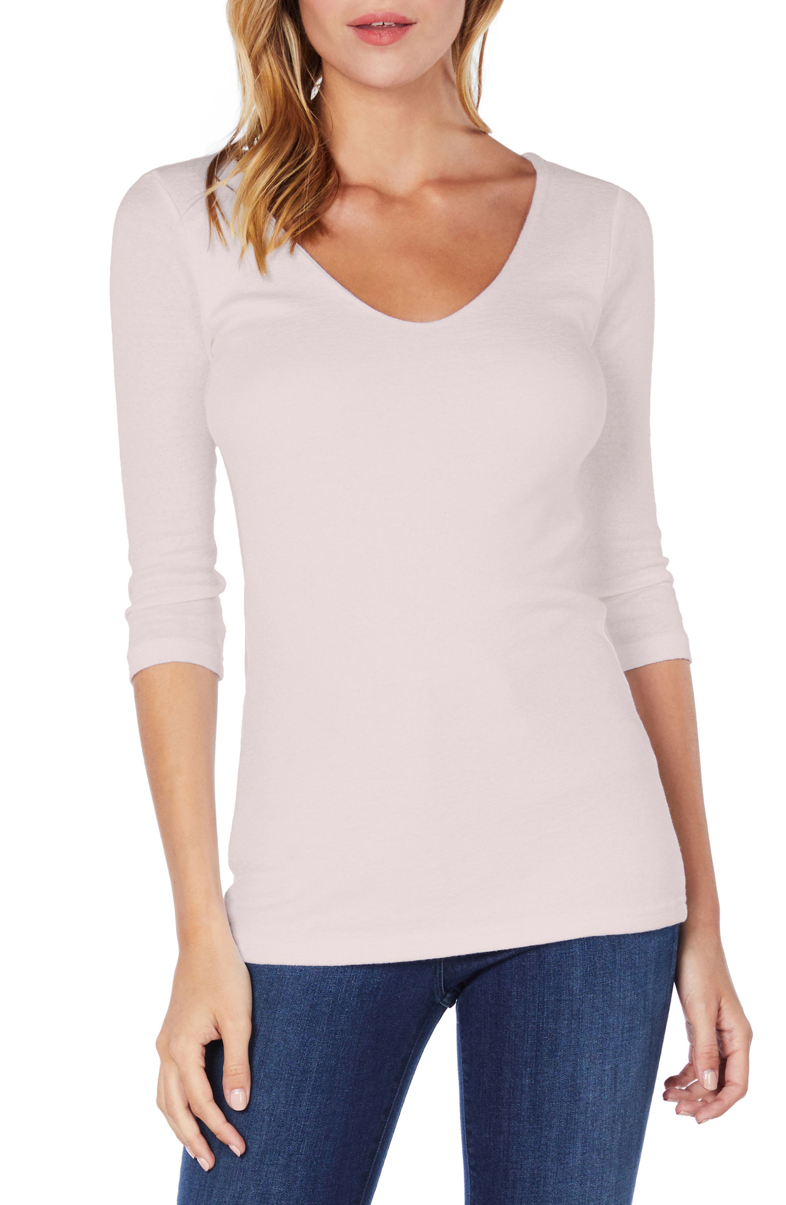 Shine Doubled Front V-Neck Top,                             Main thumbnail 1, color,                             WHISPER